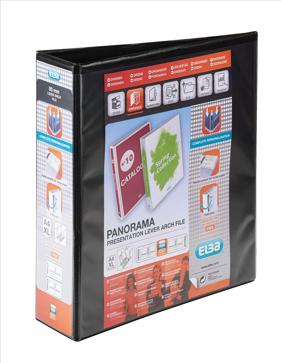 Image for Elba Panorama Leverless Arch Binder PVC 2 Ring Size 40mm Black A4 Ref 400008953 [Pack 5]