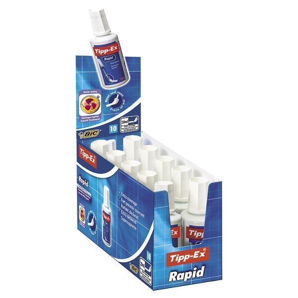 Image for Tipp-Ex Rapid Correction Fluid Fast-drying with Foam Applicator 20ml White Ref 885992 [Pack 10]