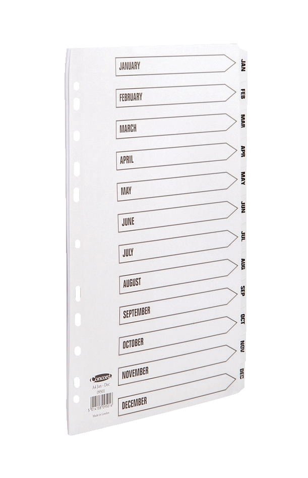 Image for Concord Commercial Dividers Europunched Jan-Dec Clear Tabs A4 White Ref 09501