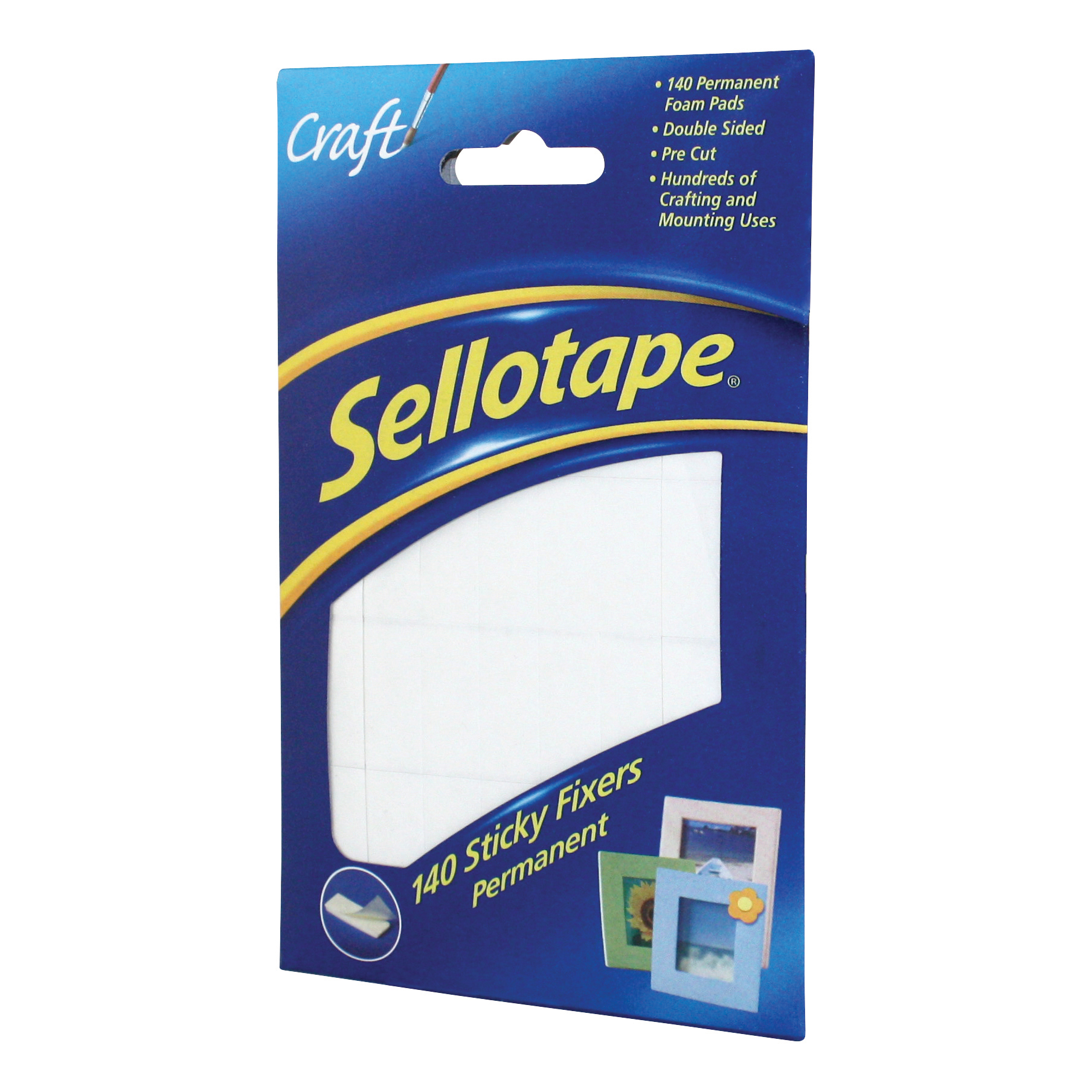 Sellotape Sticky Fixers Double-sided 12x25mm 140 Pads Ref 1445422 Pack 6