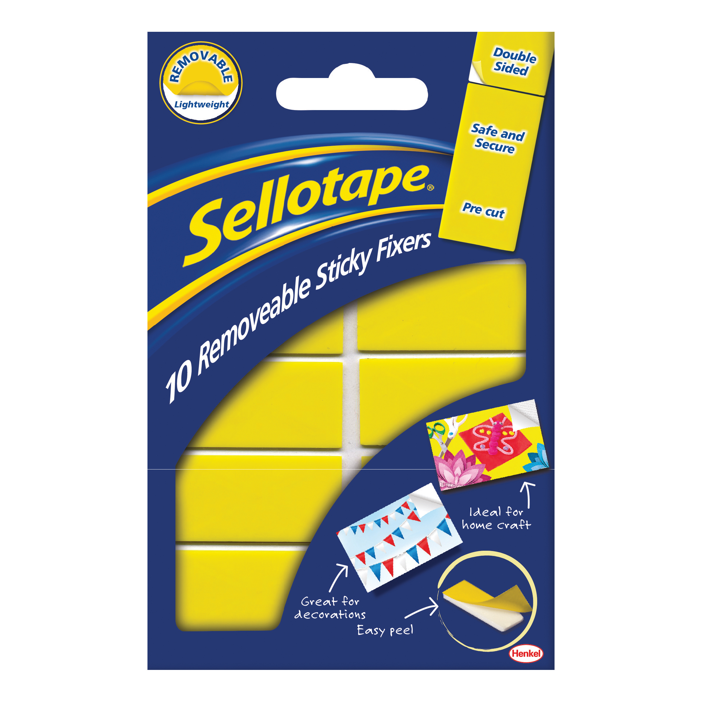 Fixers / Dots / Strips Sellotape Sticky Fixers Removable Double-sided 20x50mm 10 Pads Ref 1445286 Pack 12
