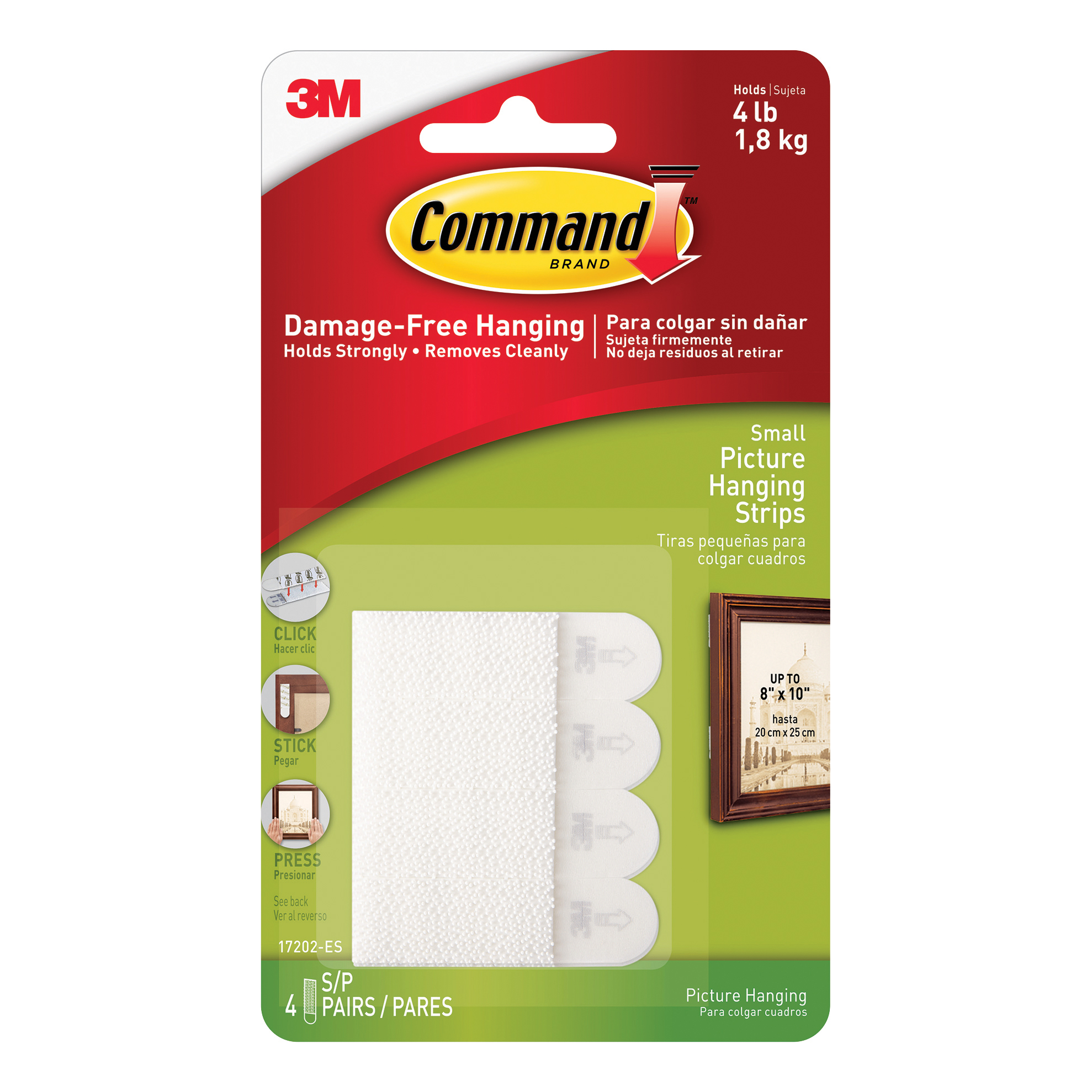 Hanging Hooks & Strips 3M Command Picture Hanging Strips Adhesive Small White Ref 17202 Pack 4