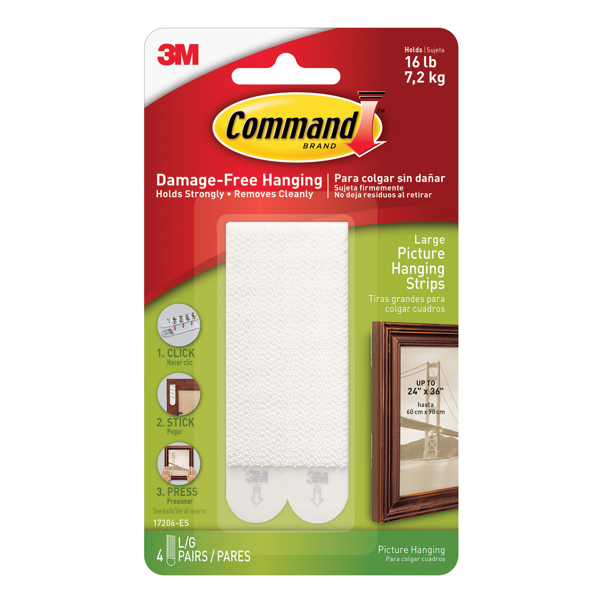 3M Command Picture Hanging Strips Adhesive Large White Ref 17206 [Pack 4]
