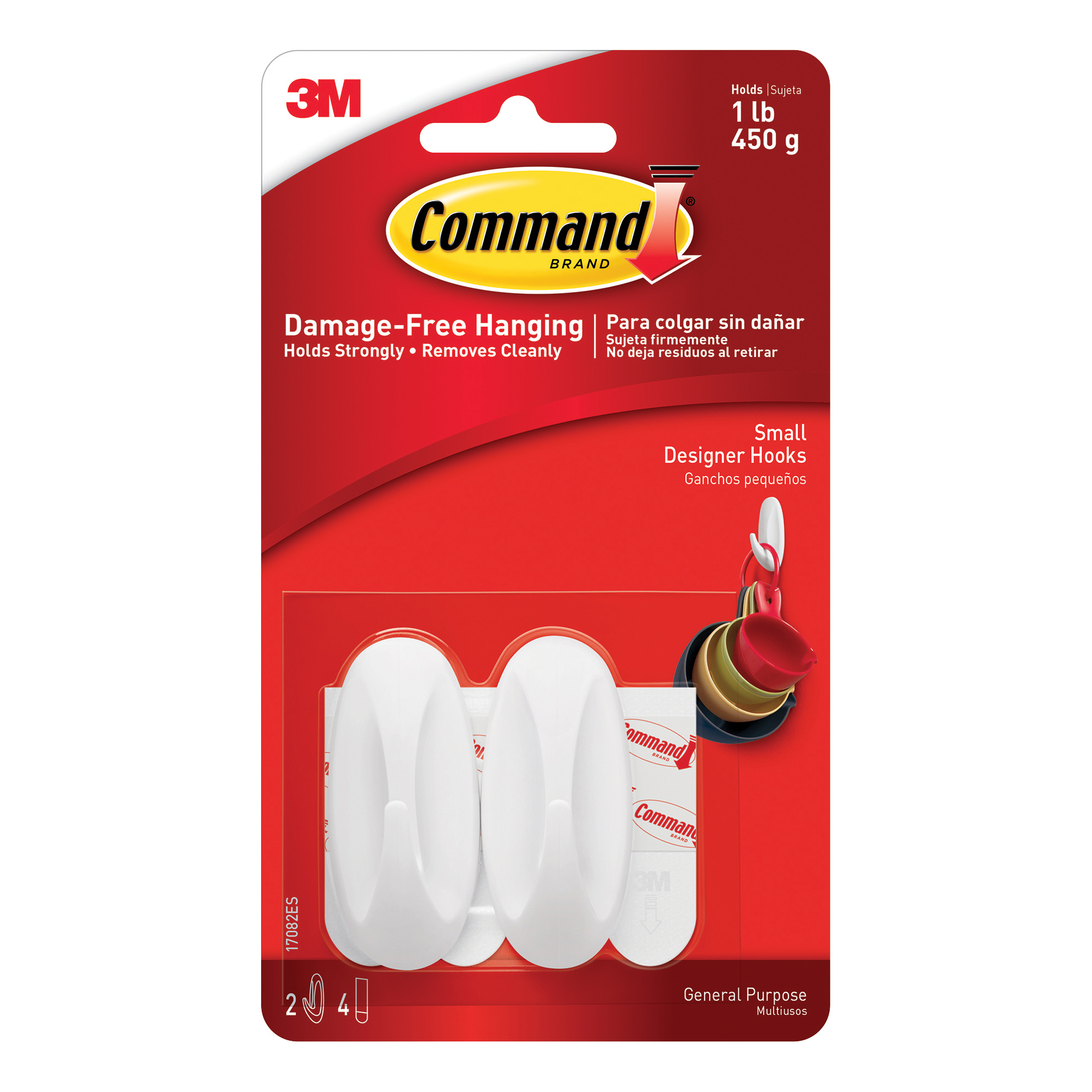 Hanging Hooks & Strips Command Oval Adhesive Hooks Small Ref 17082 Pack 2