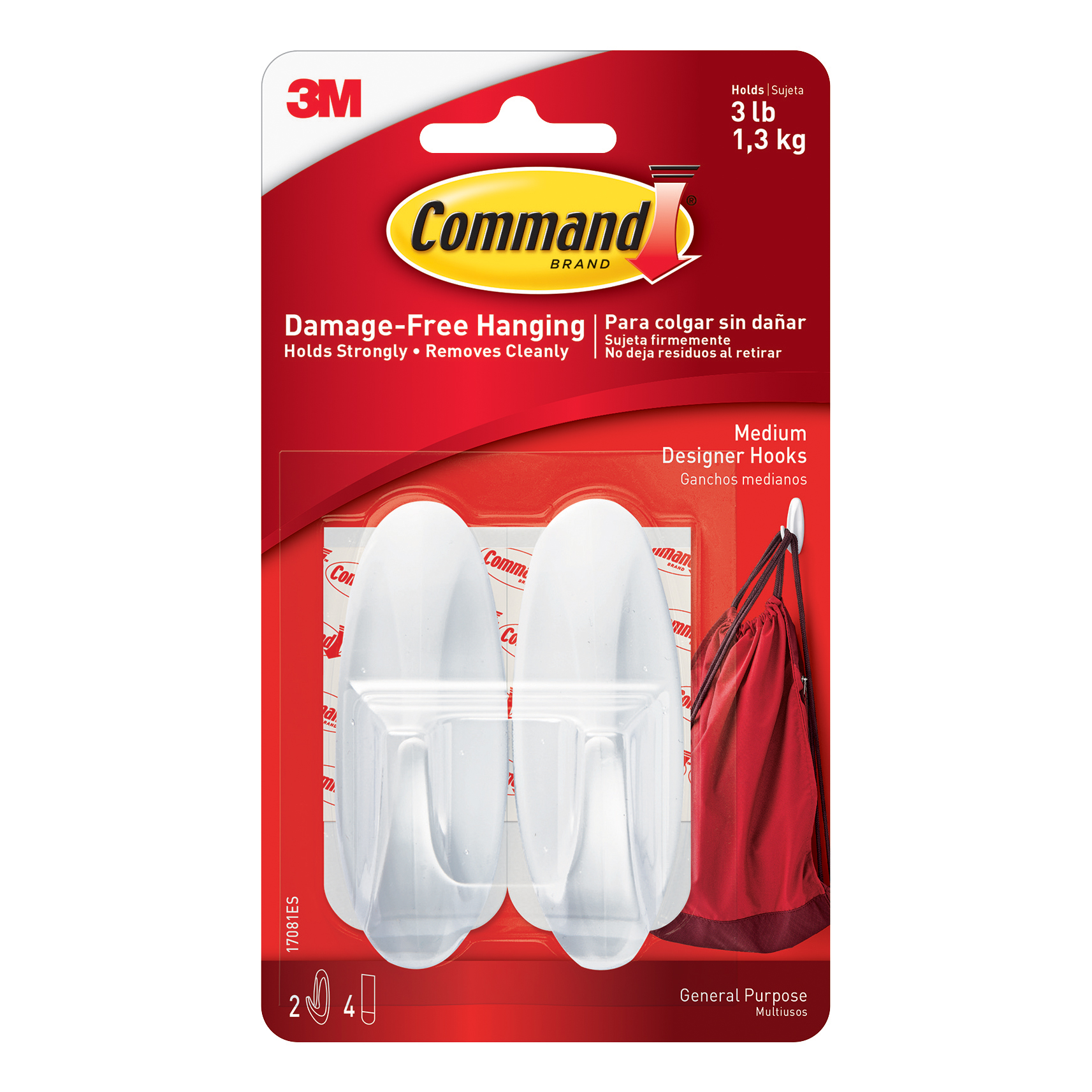 Hanging Hooks & Strips Command Oval Adhesive Hooks Medium Ref 17081 Pack 2