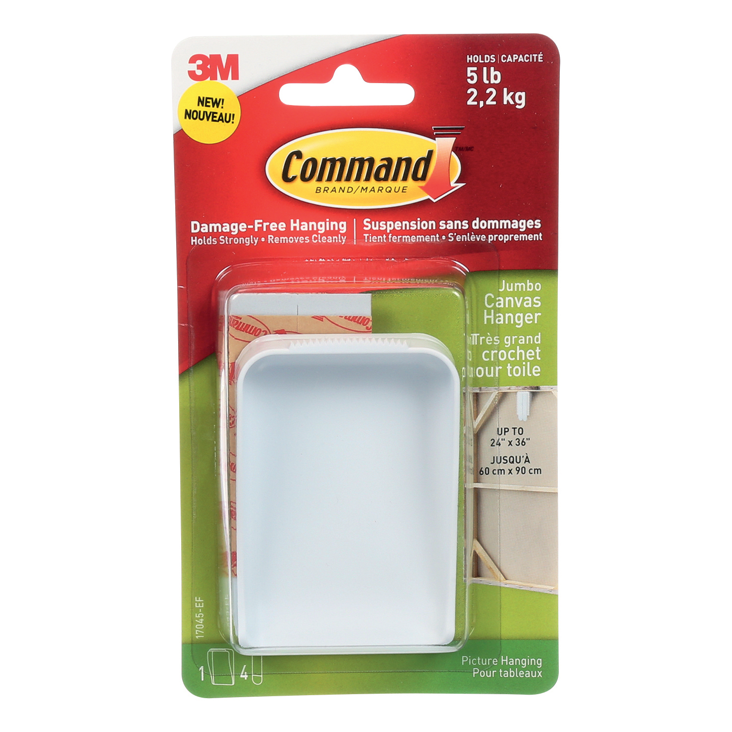 Command Hanger for Canvas Artwork Damage-free Hanging with 4 Strips Large Ref 70006954393