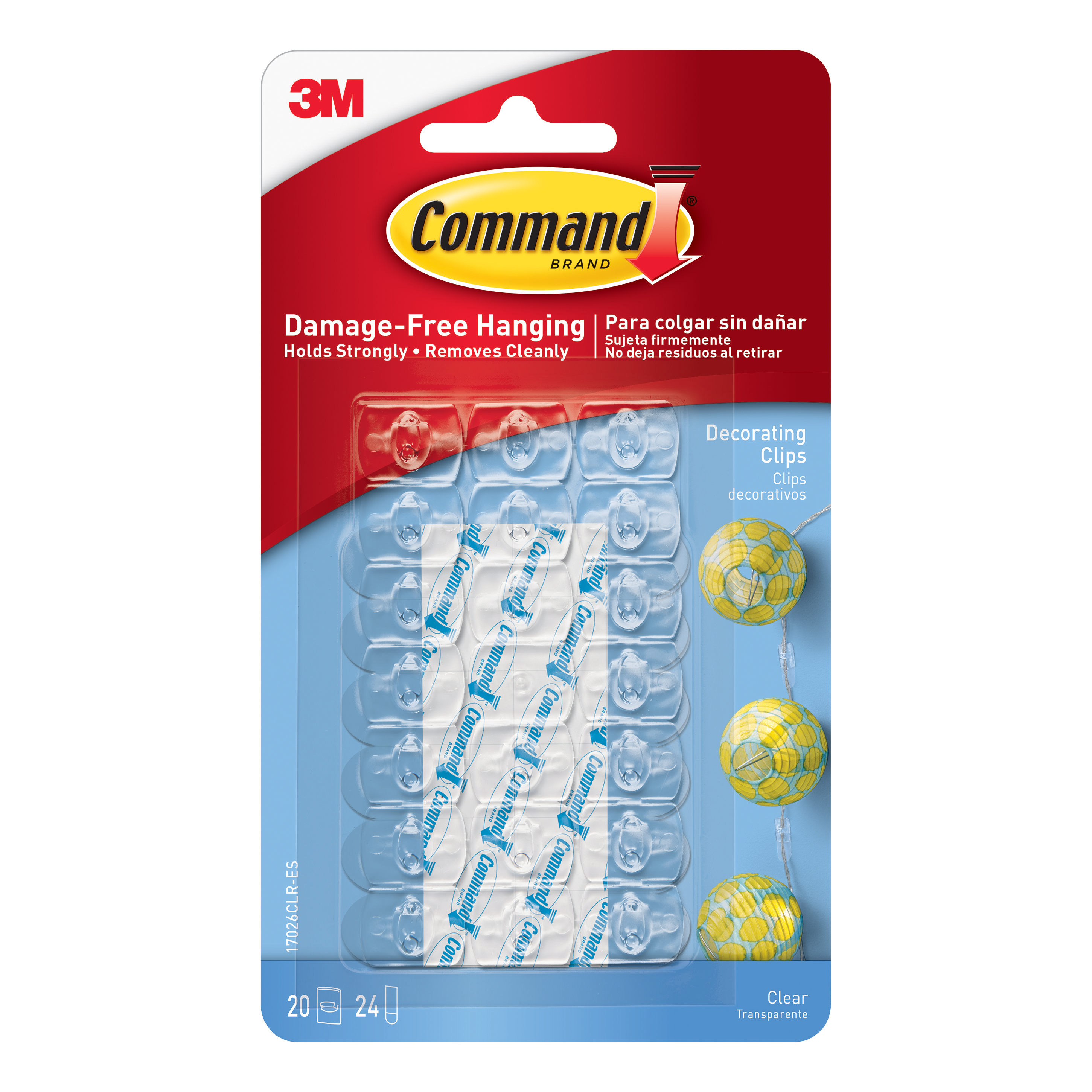 Command Mounting & Decorating Clips Mixed Clear Ref GC801055853 Pack 20