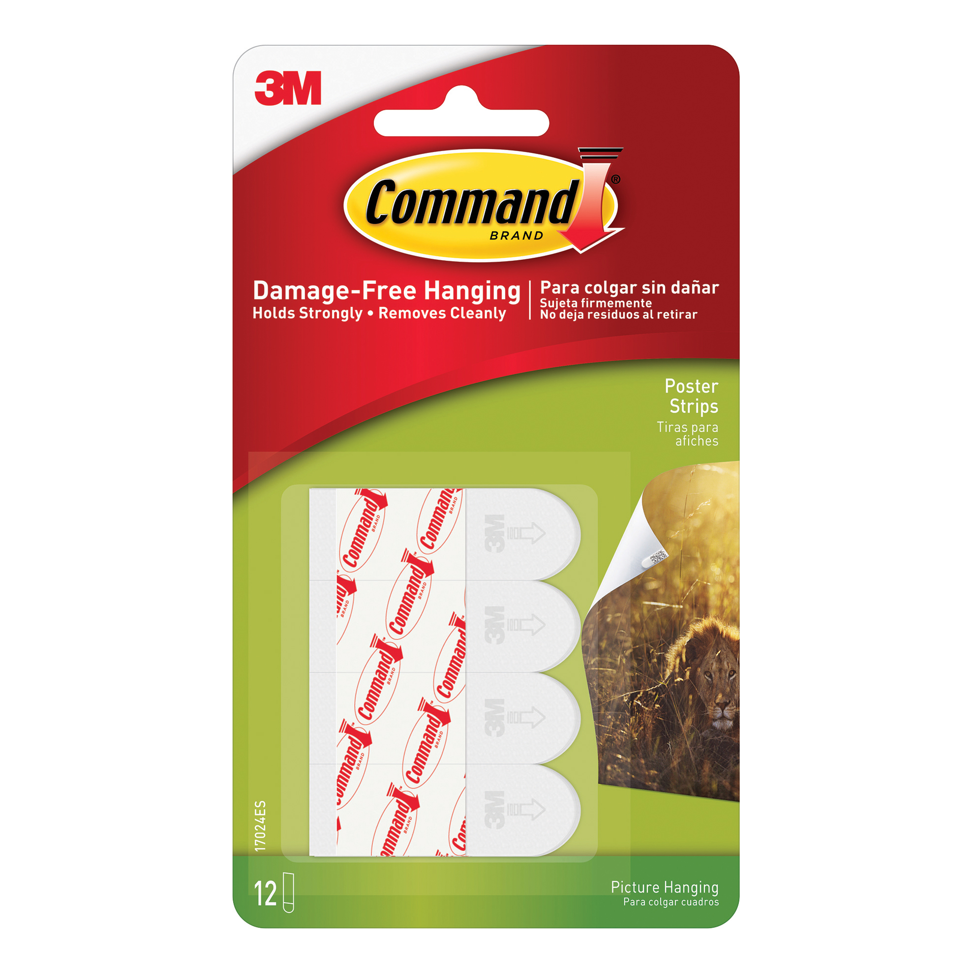 Hanging Hooks & Strips 3M Command Adhesive Poster Strips Clean-removing Holding Capacity 0.45kg Ref 17024 Pack 12