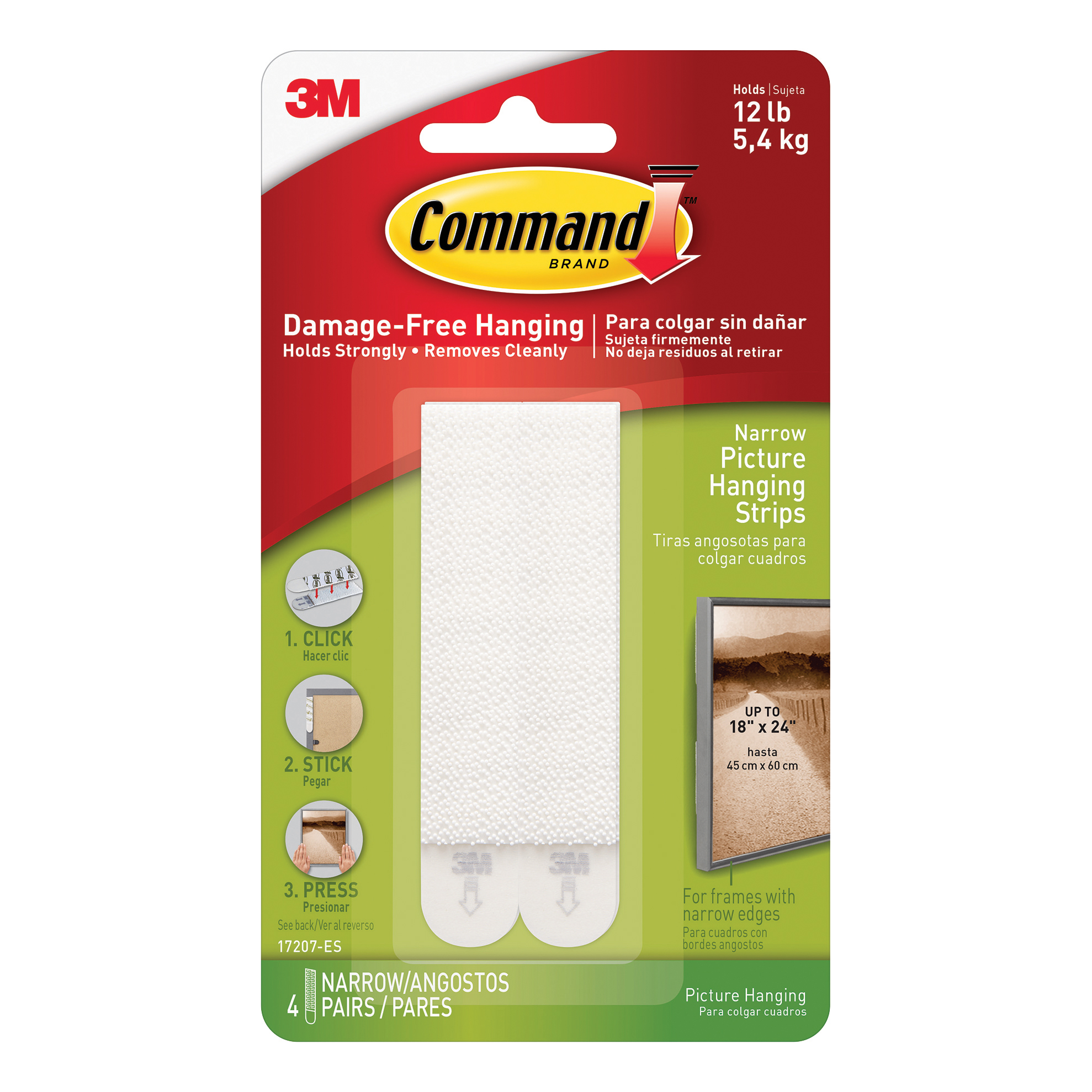 Command Picture Hanging Strips Narrow Ref 17207 4 Pairs