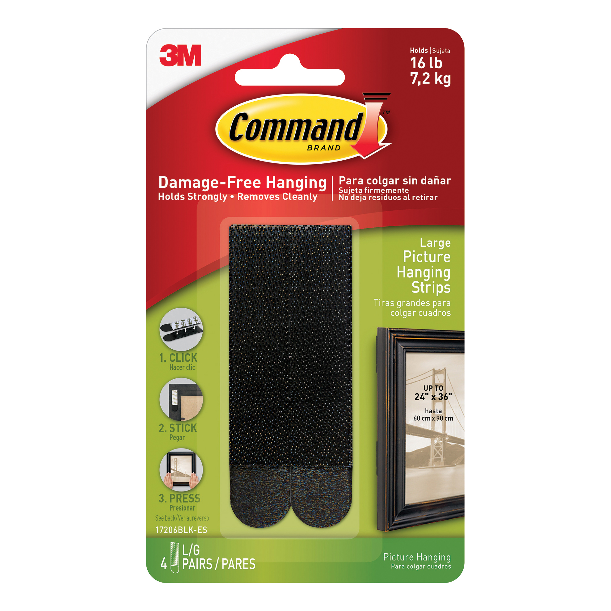 Command Picture Hanging Strips Large Black Ref 17206BLK 4 Pairs