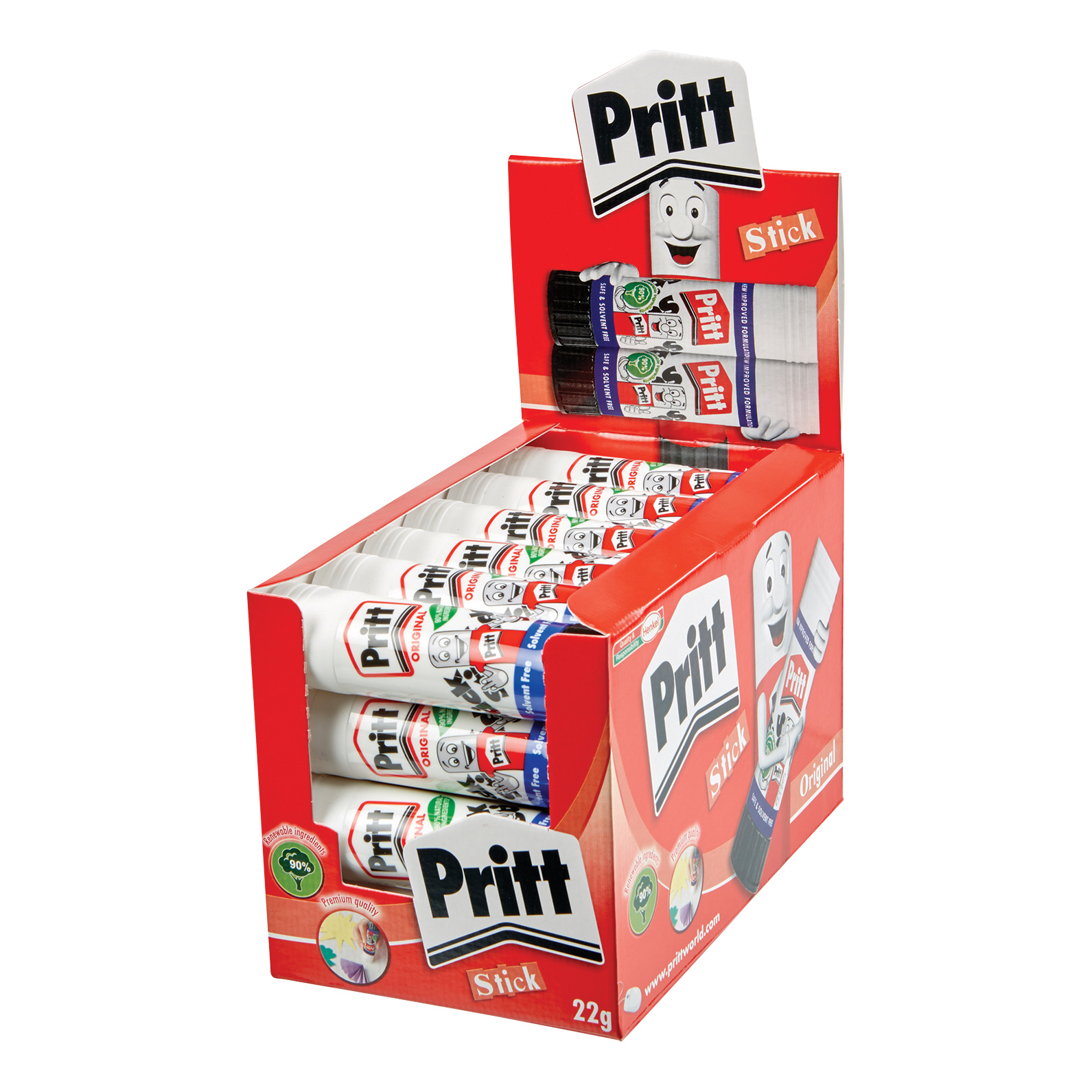 Pritt Stick Glue Solid Washable Non-toxic Medium 22g Ref 1564150 [Pack 24]