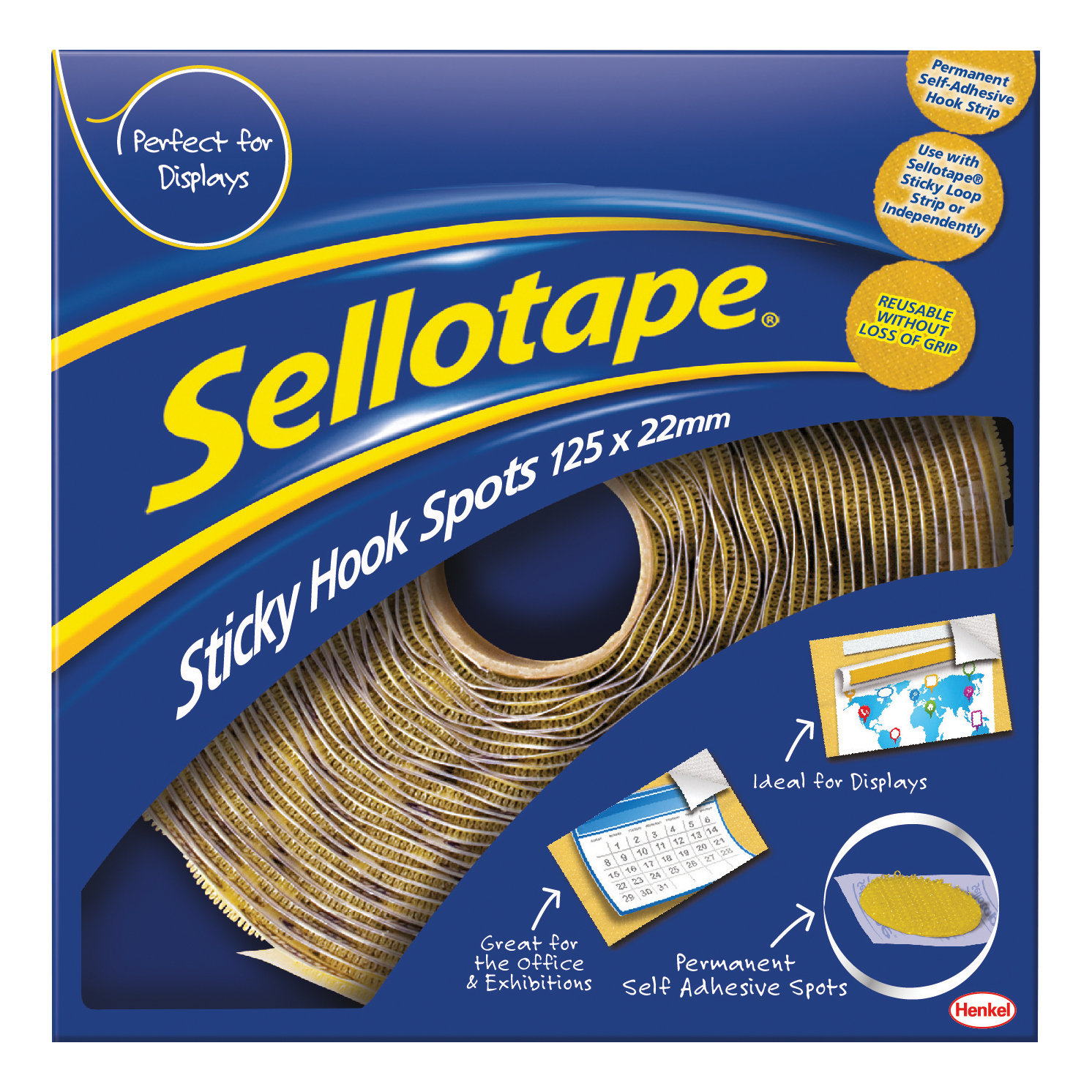 Accessories Sellotape Permanent Sticky Hook Spots in Handy Dispenser of 125 Spots Diameter 22mm Yellow Ref 1445185