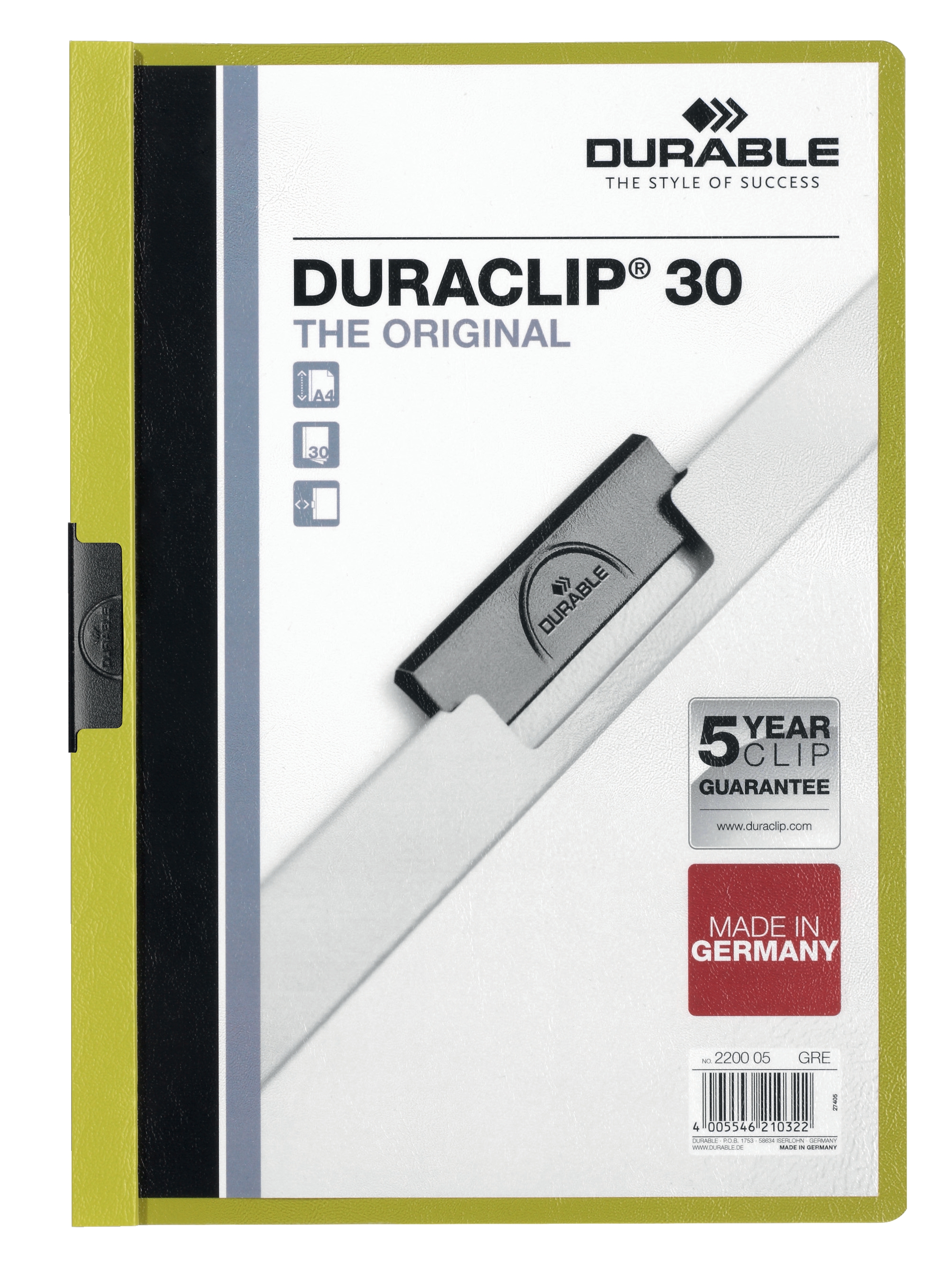 Image for Durable Duraclip Folder PVC Clear Front 3mm Spine for 30 Sheets A4 Green Ref 220005 [Pack 25]