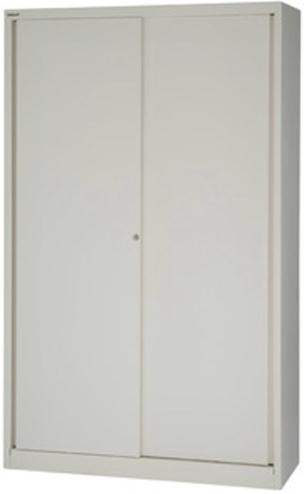Bisley Sliding Door Cupboard with 4 Shelves W1200xH1980 Chalk Ref SD412/19/4S-ab9