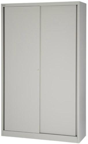 Image for Bisley Sliding Door Cupboard with 4 Shelves W1200xH1980 Goose Grey Ref SD412/19/4S-av4