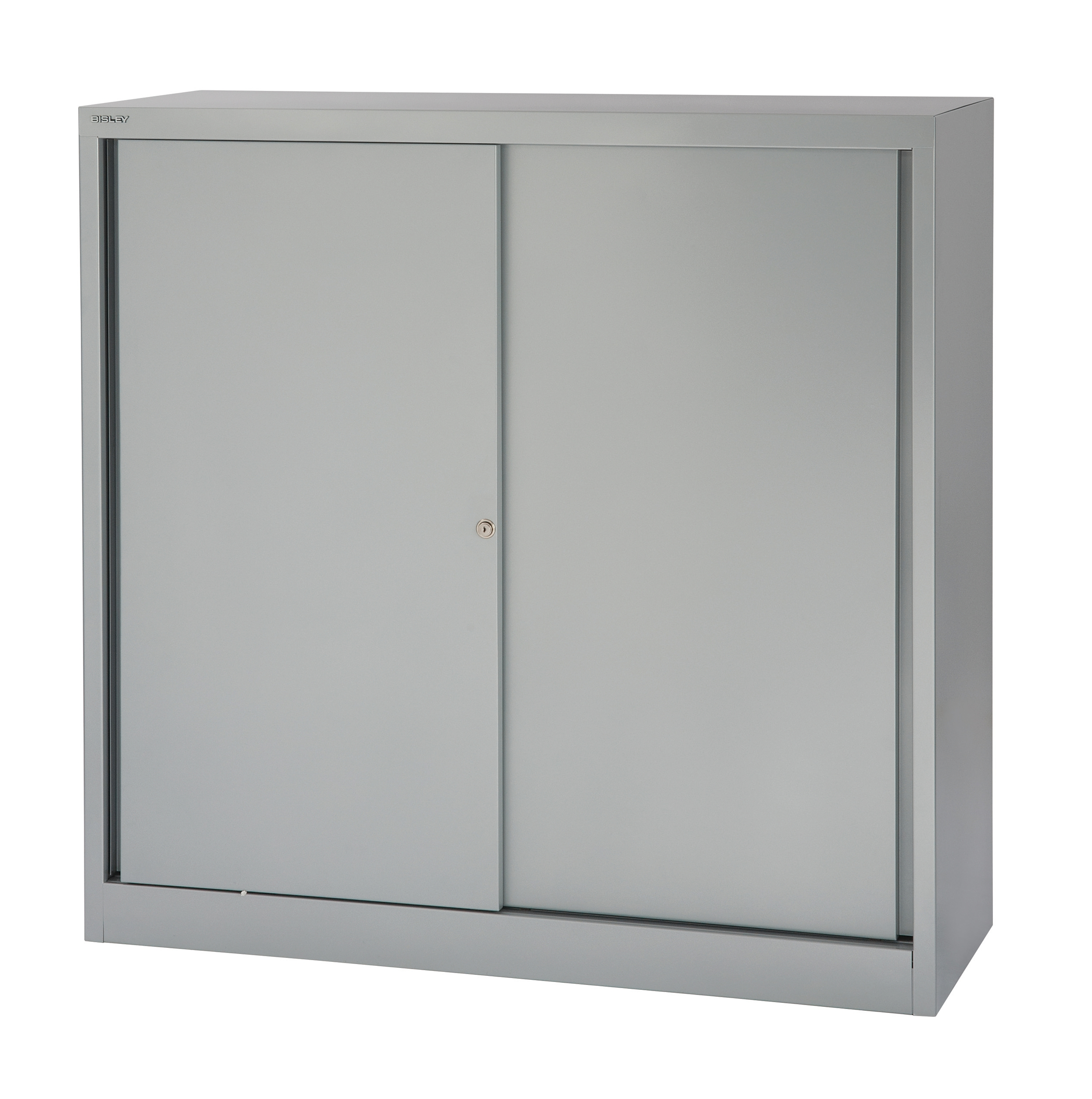 Image for Bisley Sliding Door Cupboard with 2 Shelves W1200xH1181 Silver Ref SD412/11/2S-arn