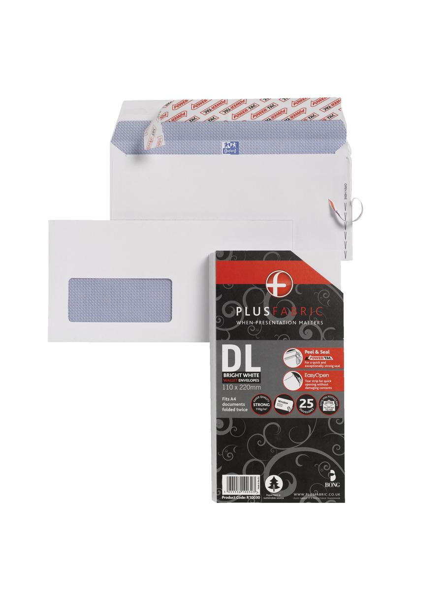 Image for Plus Fabric Envelopes DL Window Retail Pack Ref R10030 [Pack 25]