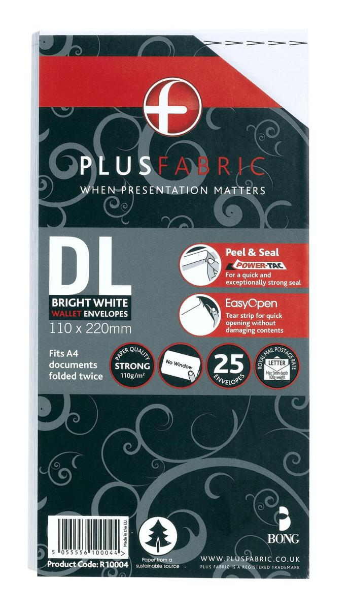 Image for Plus Fabric Envelopes DL Retail Pack Ref R10004 [Pack 25]