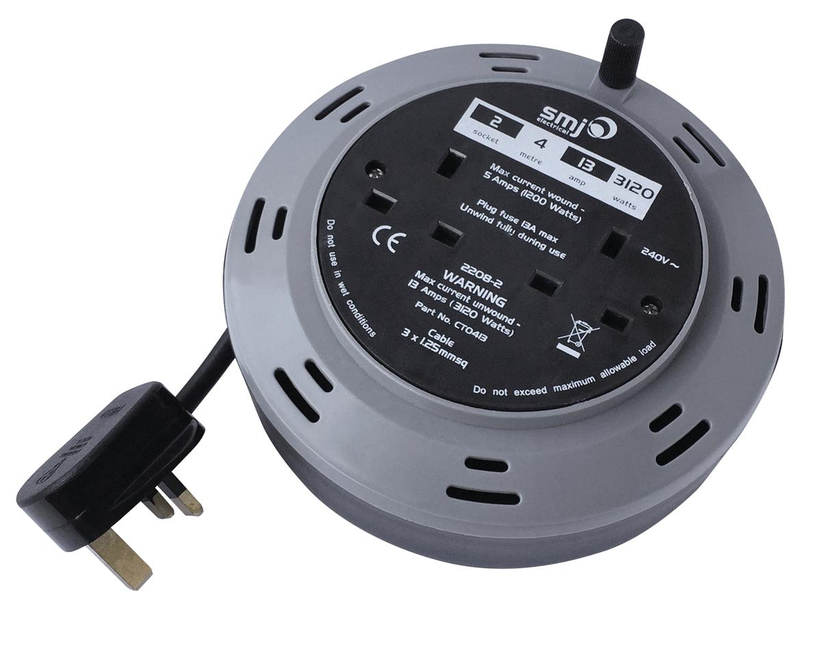 Image for Cable Extension Reel 4 Metre 13 Amp 2 Socket