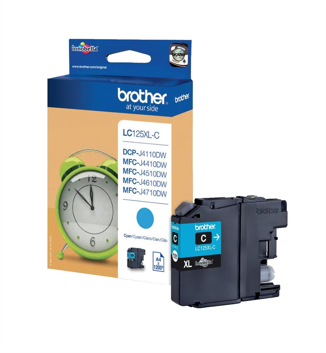 Brother Inkjet Cartridge High Yield Page Life 1200pp Cyan Ref LC125XLC
