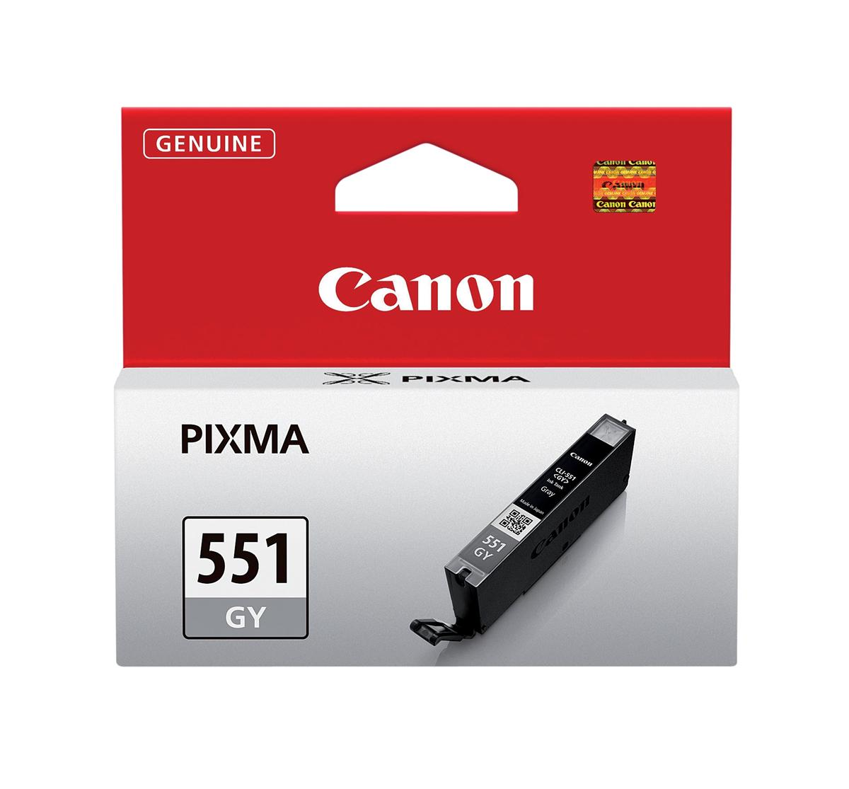 Canon CLI-551GY Inkjet Cartridge Page Life 125pp 7ml Grey Ref 6512B001