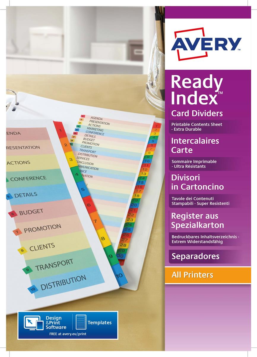Image for Avery ReadyIndex Dividers L7411-12 A4 1-12 Numeric Assorted Colours Ref 01736501