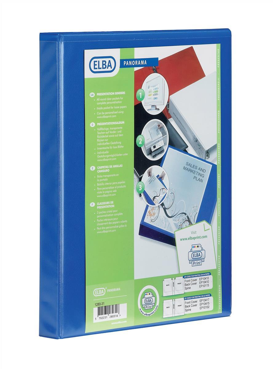 Image for Elba Panorama Presentation Ring Binder PVC 4 O-Ring 16mm Capacity A4 Blue Ref 400020318 [Pack 5]