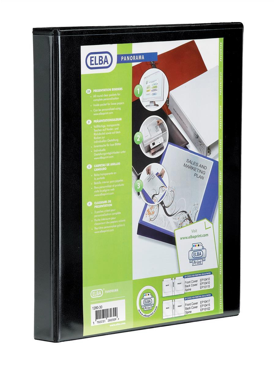 Image for Elba Panorama Presentation Ring Binder PVC 4 O-Ring 16mm Capacity A4 Black Ref 400020317 [Pack 5]