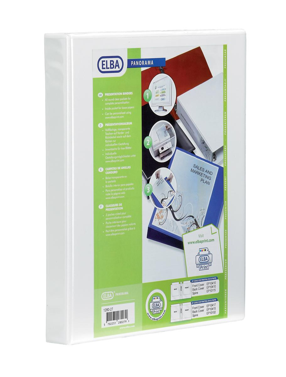 Image for Elba Panorama Presentation Ring Binder PVC 4 O-Ring 16mm Capacity A4 White Ref 400020311 [Pack 5]