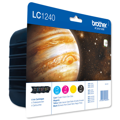Brother Inkjet Cart ValuePack Page Life 600pp Black/Cyan/Magenta/Yellow Ref LC1240VALBP [Pack 4]