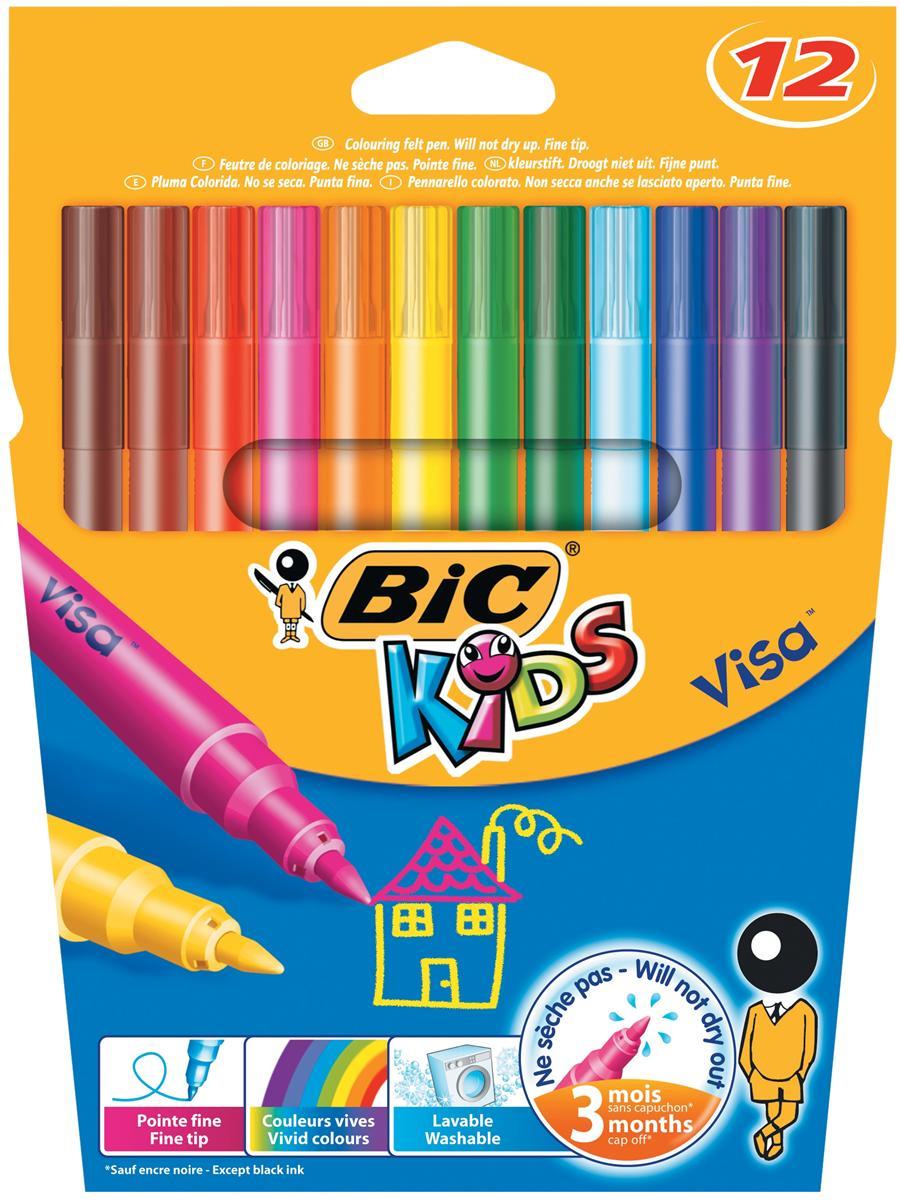 Image for Bic Kids Visa Felt Tip Pens Washable Fine Tip Assorted Ref 888695 [Pack 12]