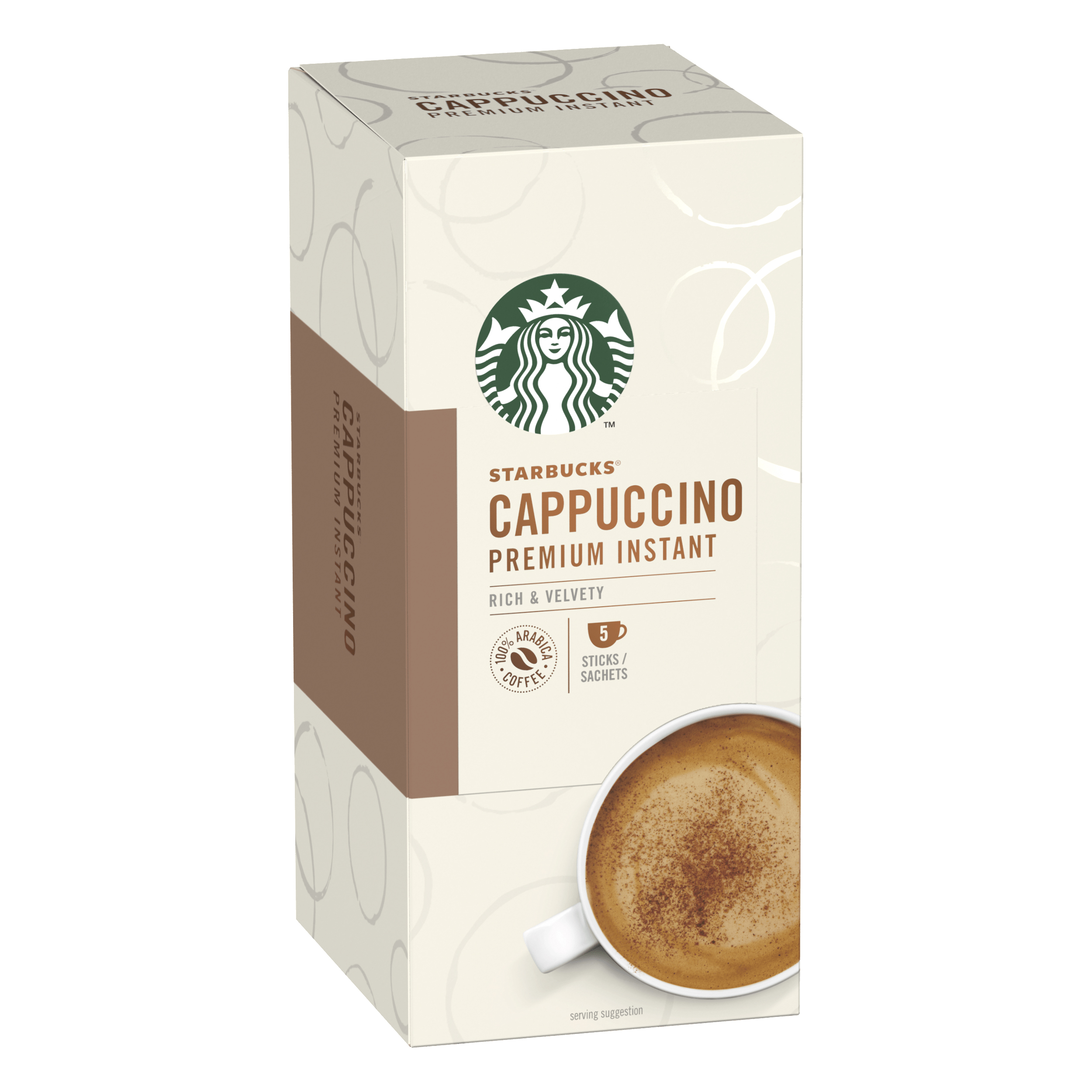 Instant coffee Starbucks Cappuccino Sachets 6 Boxes Each with 5 x 70g Sachets Ref 12431776