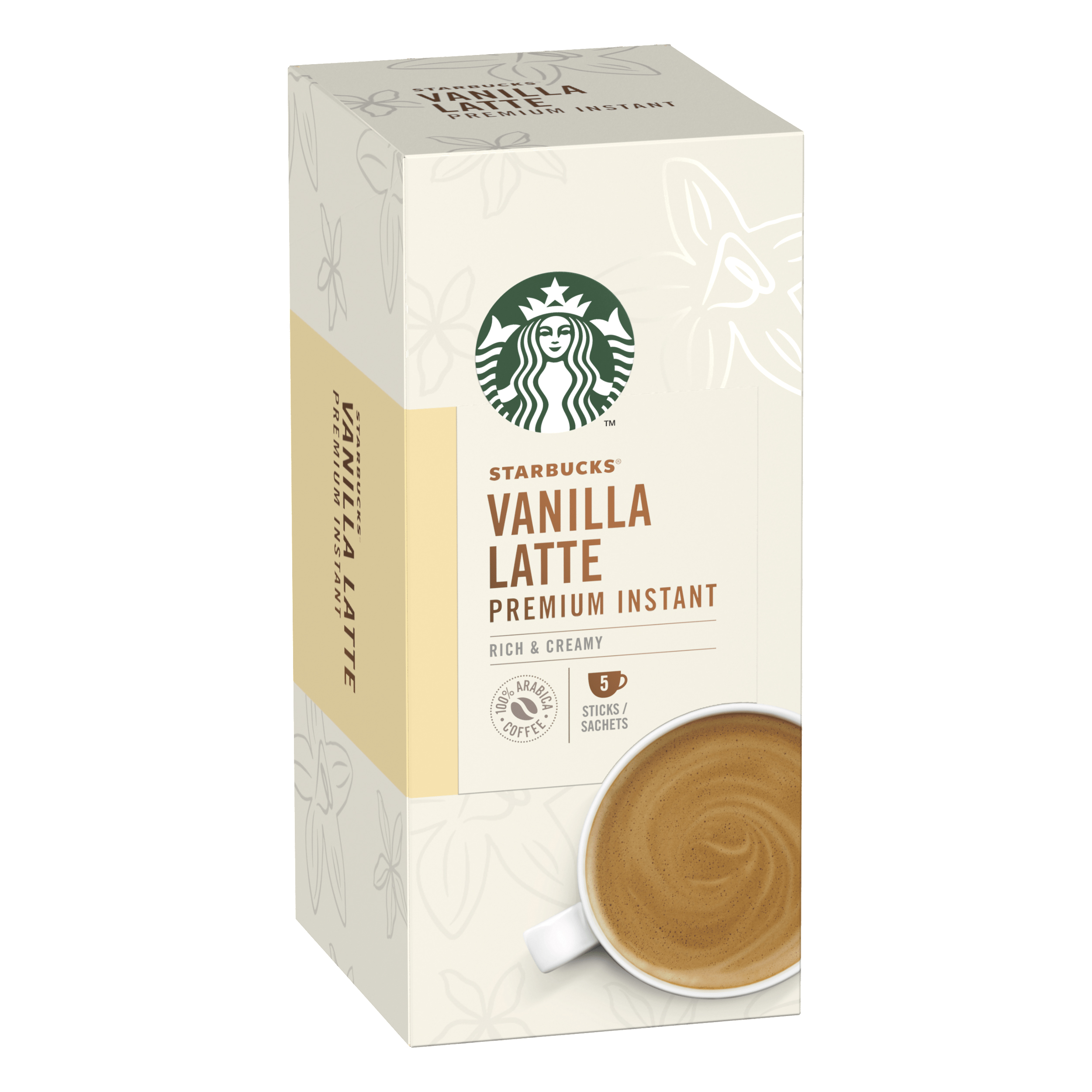 Instant coffee Starbucks Vanilla Latte Sachets 6 Boxes Each with 5 x 107g Sachets Ref 7613038558677