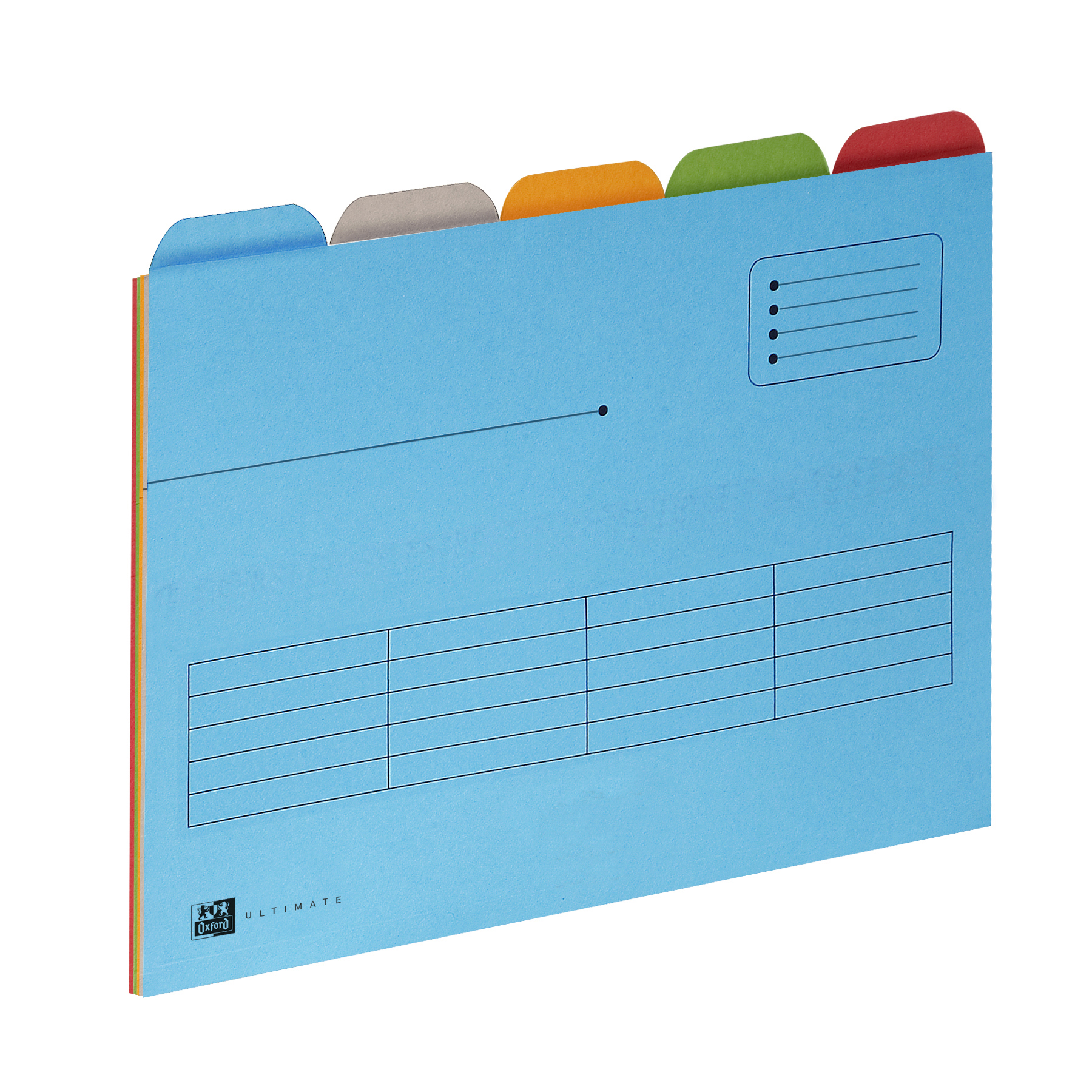 Oxford Ultimate Tabbed Folder 240gsm Mediumweight Reinforced Manilla A4 Astd Ref 100330160 [Pack 25]