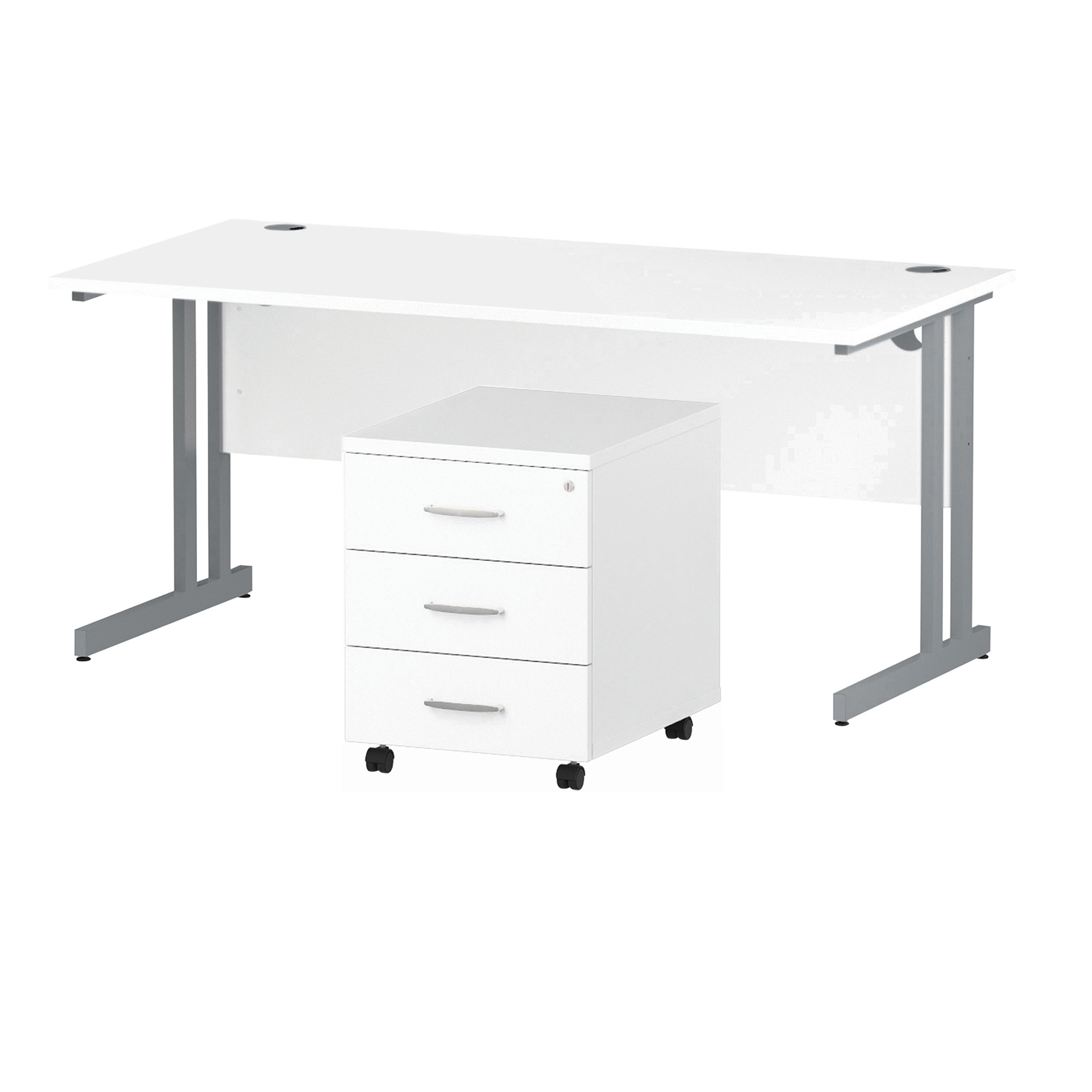 Desks Trexus Cantilever Desk 1600x800 & 3 Drawer Pedestal White Bundle Offer Feb-Apr 2020