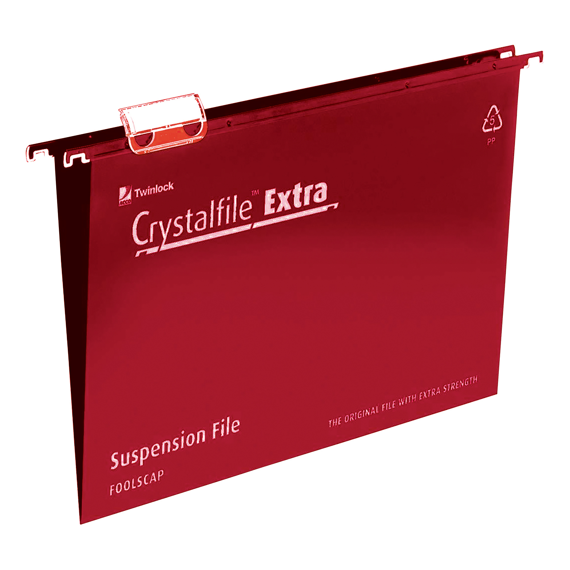 Rexel Crystalfile Extra Suspension File Polypropylene 15mm V-base Foolscap Red Ref 70629 [Pack 25]