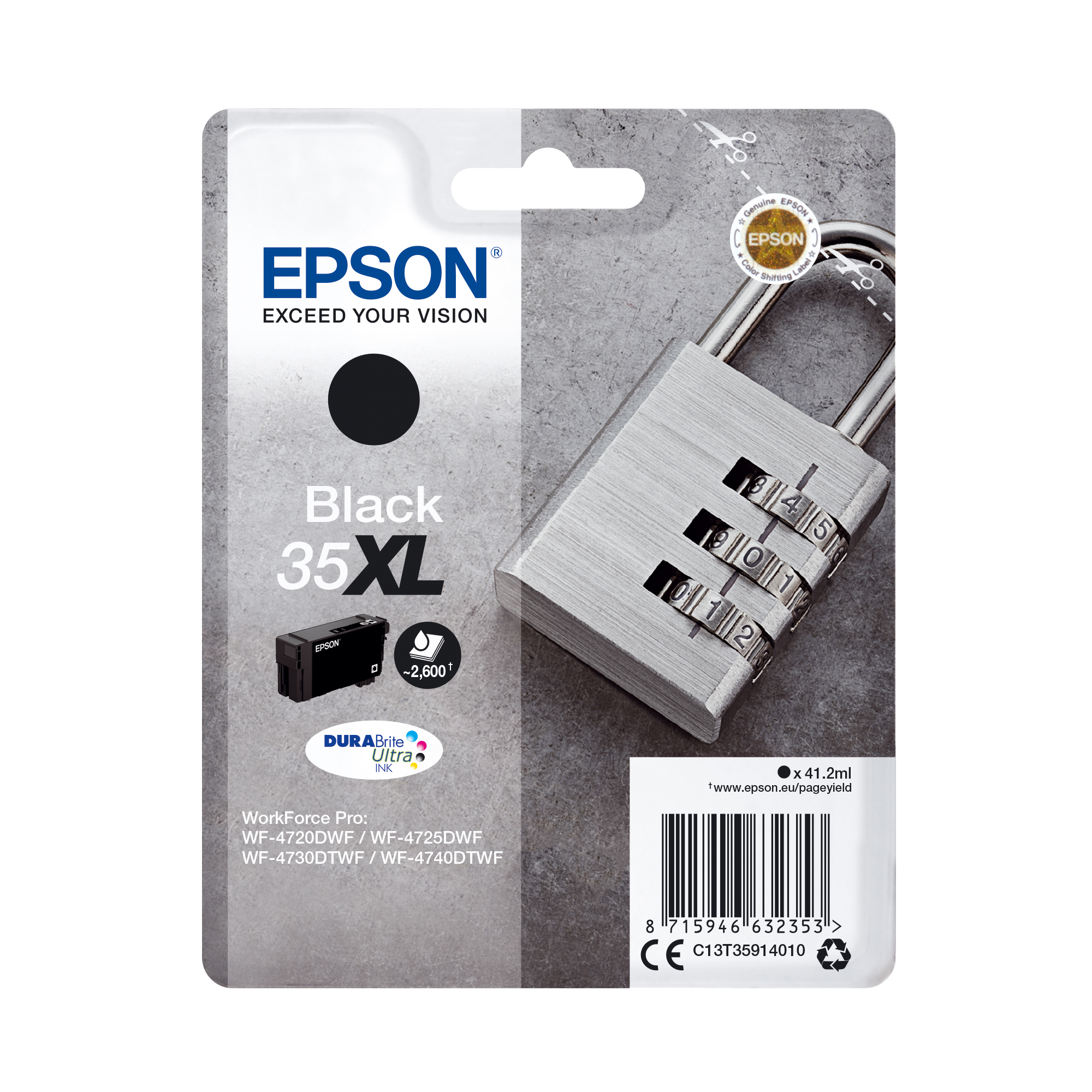 Ink cartridges Epson 35XL Inkjet Cartridge High Yield Page Life 2600pp 41.2ml Black Ref C13T35914010