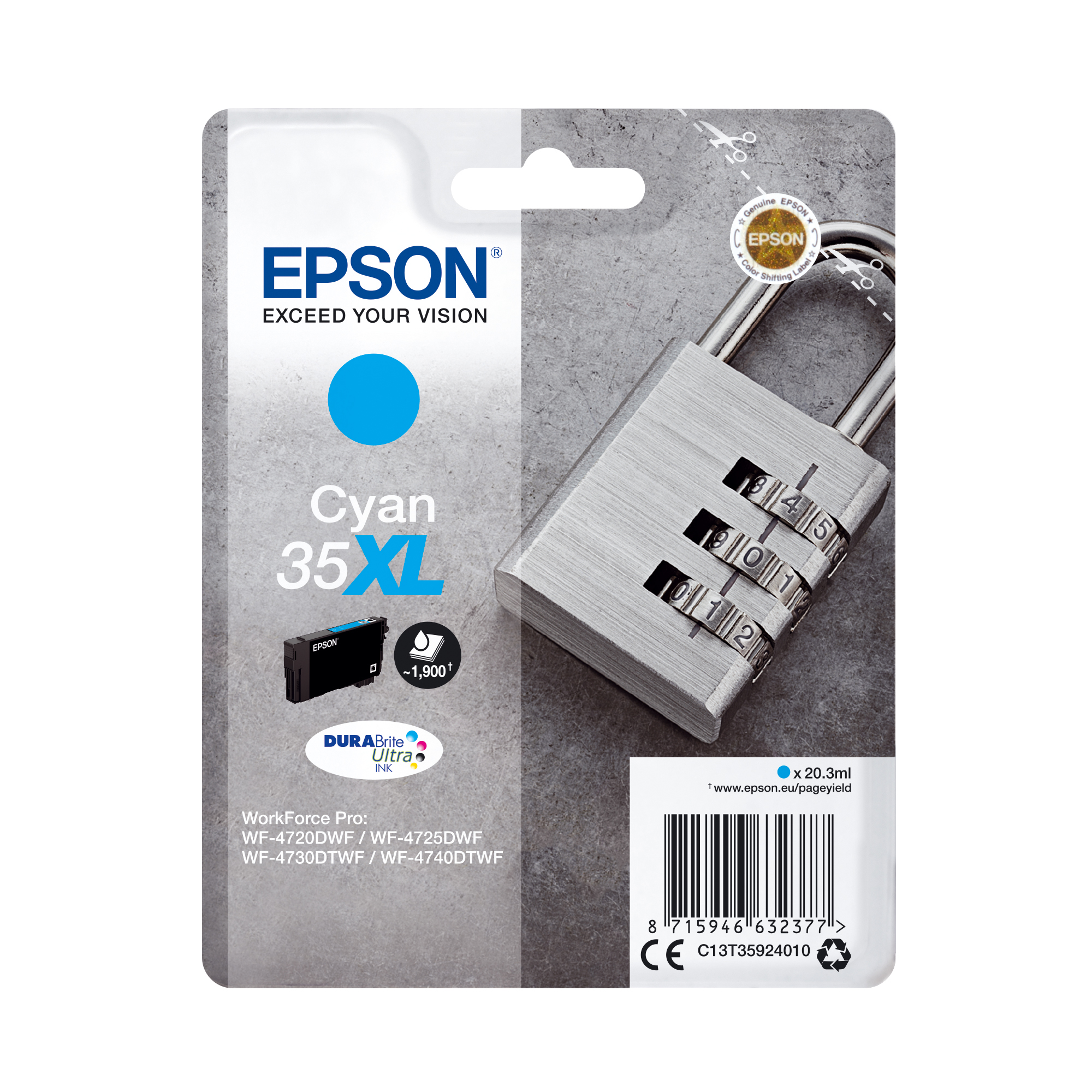 Ink cartridges Epson 35XL Inkjet Cartridge High Yield Page Life 1900pp 20.3ml Cyan Ref C13T35924010