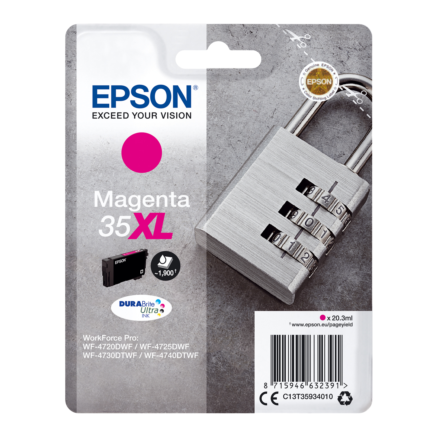 Ink cartridges Epson 35XL Inkjet Cartridge High Yield Page Life 1900pp 20.3ml Magenta Ref C13T35934010