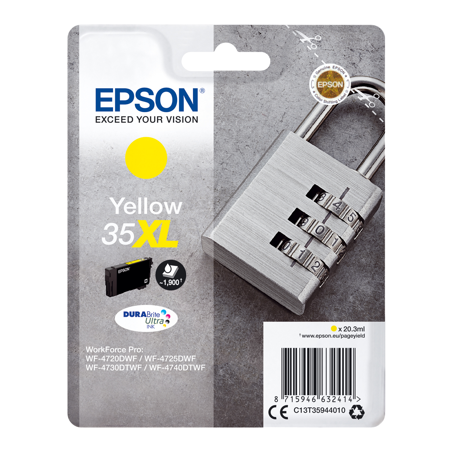 Ink cartridges Epson 35XL Inkjet Cartridge High Yield Page Life 1900pp 20.3ml Yellow Ref C13T35944010