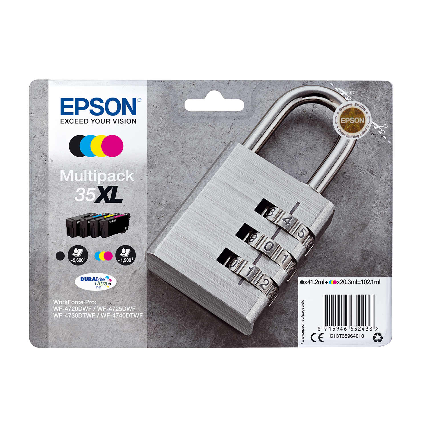 Ink cartridges Epson 35XL Inkjet Cartridge High Yield Page Life 2600/1900pp 102.1ml B/C/M/Y Ref C13T35964010 [Pack 4]