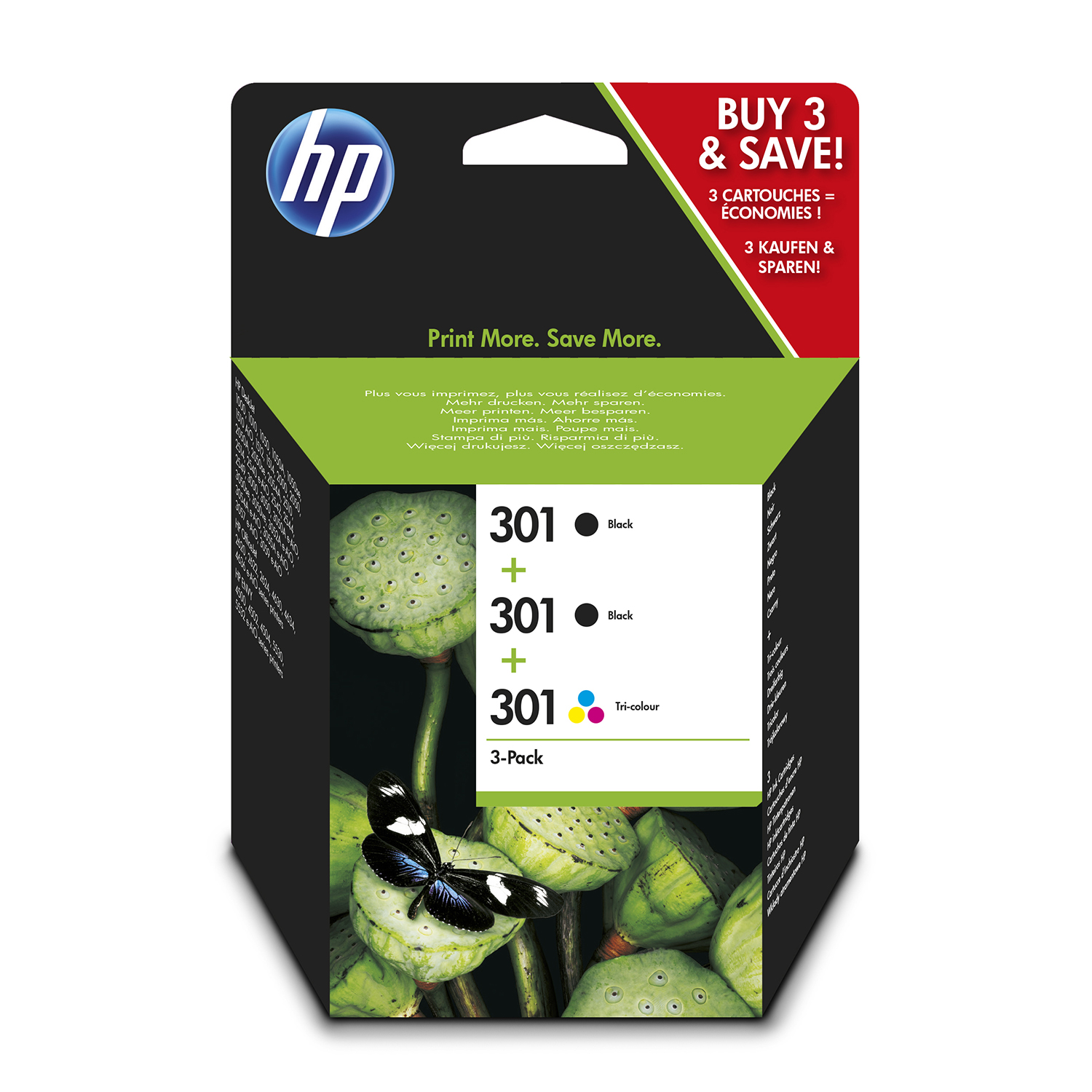 Hewlett Packard 301 Inkjet Cartridge Blackx2 190pp/Colx1 165pp 9ml Ref E5Y87EE [Pack 3]