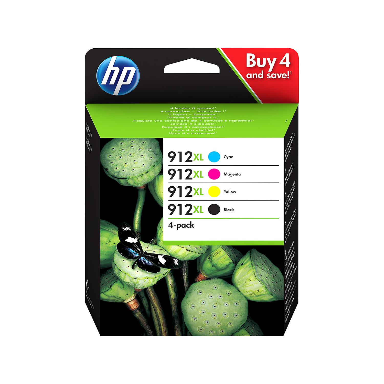 Ink cartridges Hewlett Packard 912XL Inkjet Cartridge High Yield Black/Cyan/Magenta/Yellow Ref 3YP34AE [Pack 4]