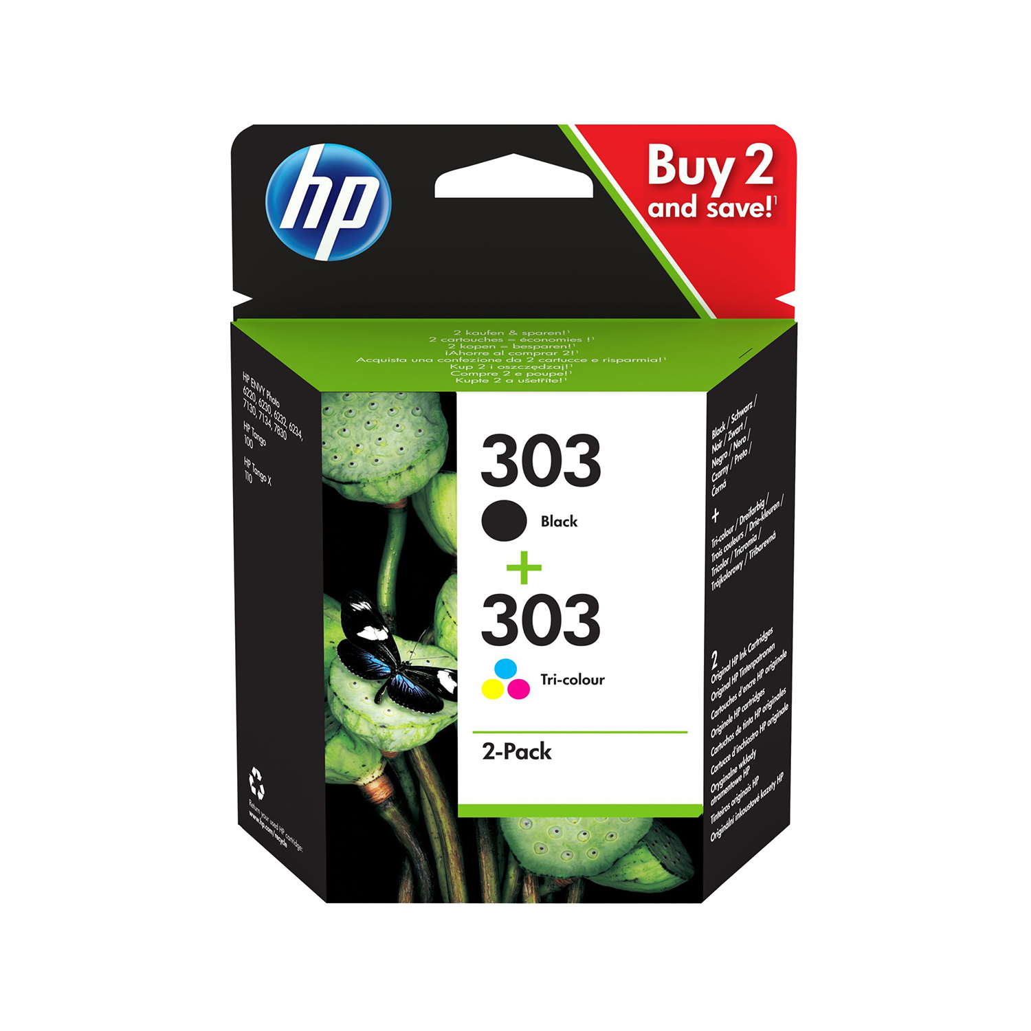 Hewlett Packard 303 Inkjet Cartridge Page Life Black 200pp/Tri-Colour 165pp Ref 3YM92AE [Pack 2]