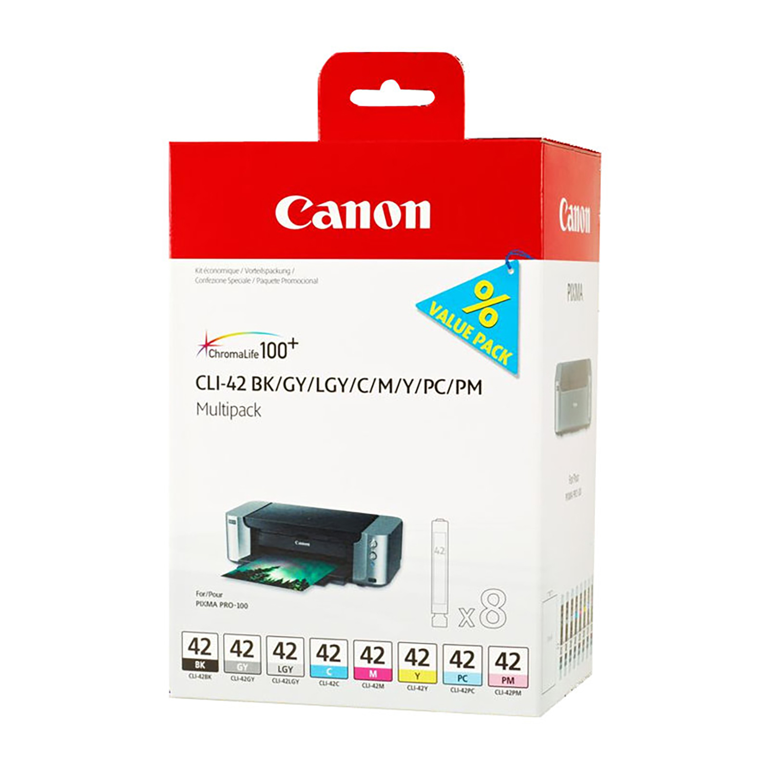 Canon CLI-42 InkJet Cartridge Multipack 104ml BKGYLGY/C/M/Y/PC/PM Ref 6384B010 [Pack 8]