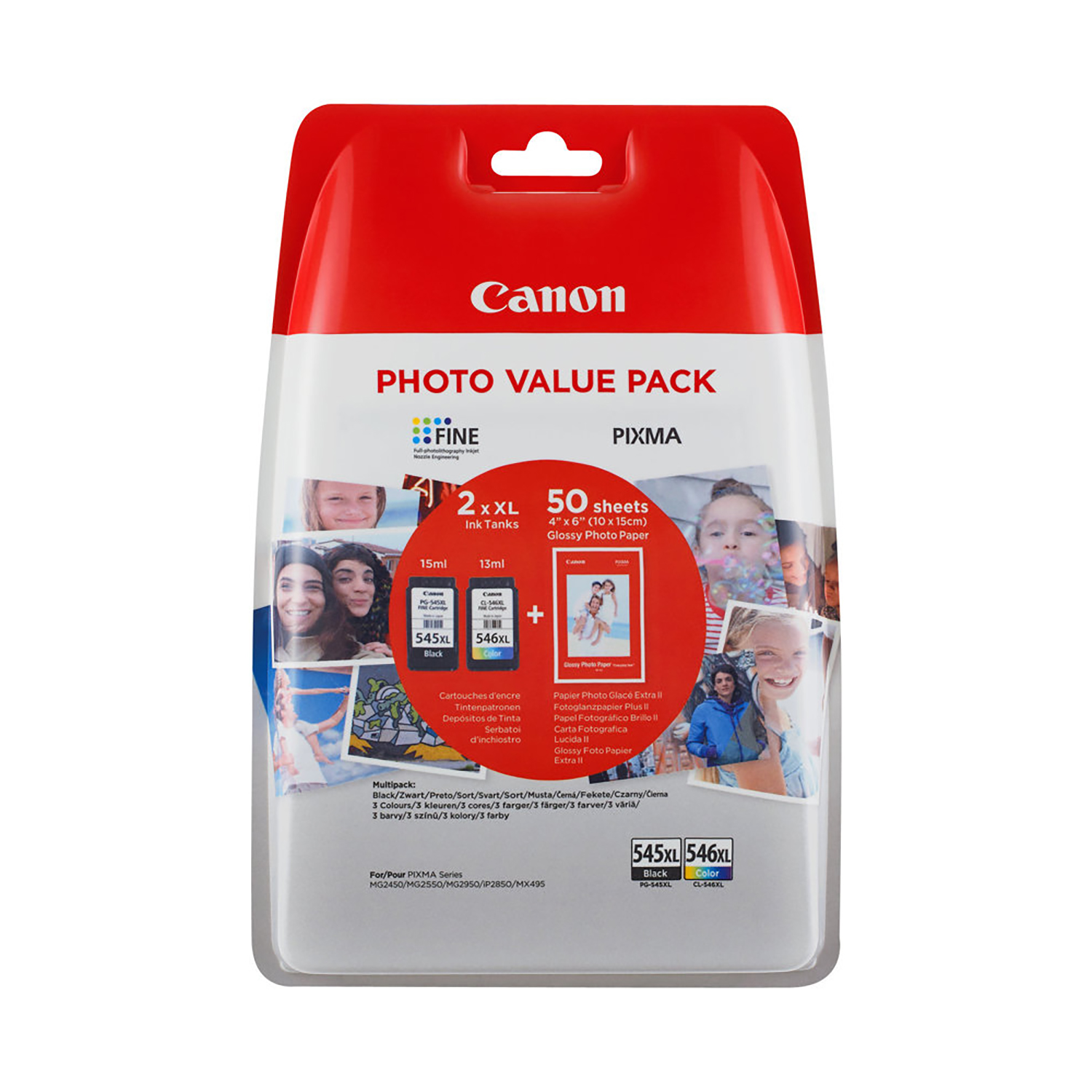 Ink cartridges Canon PG-545XL/CL-546XL Value Pack High Capacity Black/Tri-colour with 4x6 Photo Paper Ref 8286B006