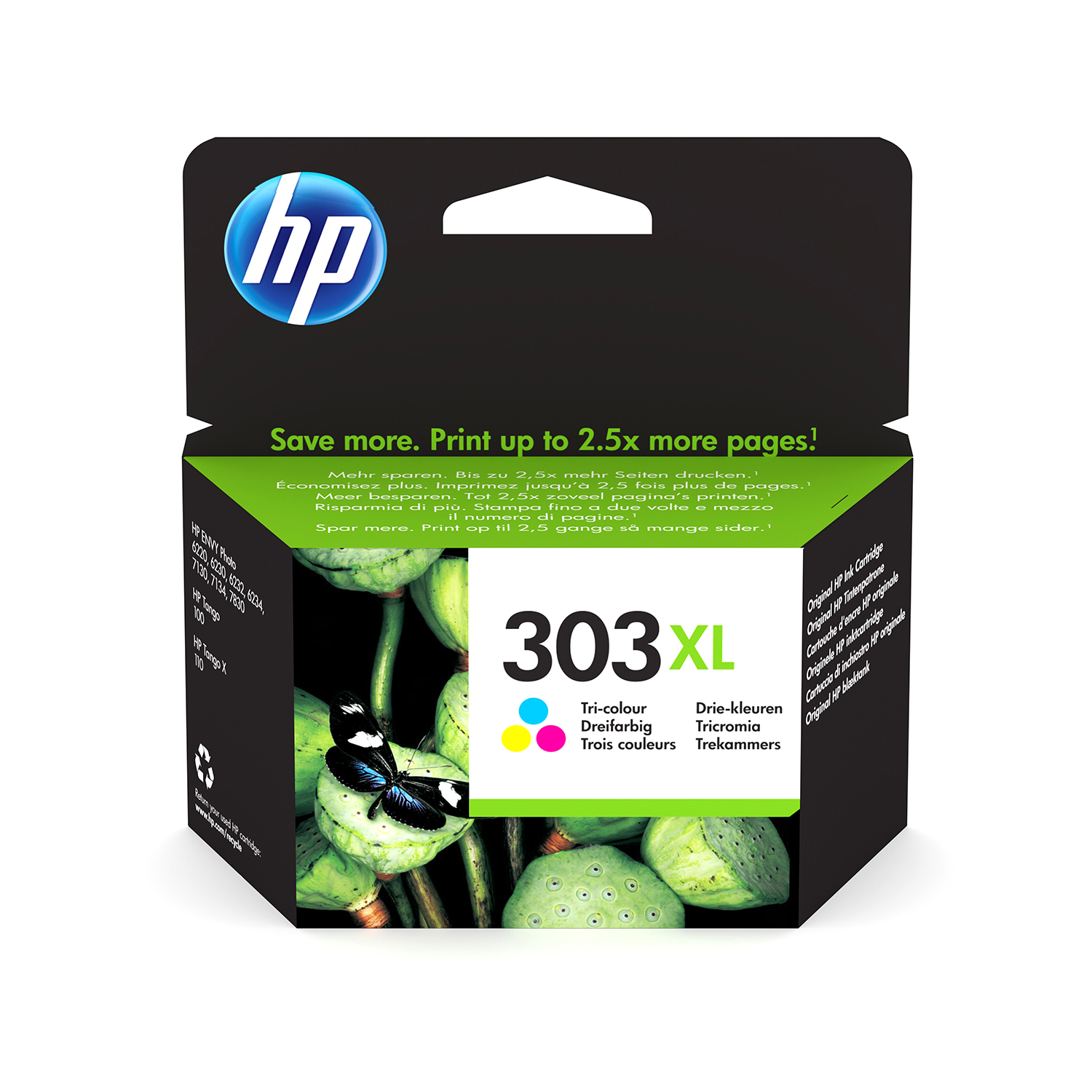 Hewlett Packard 303XL Inkjet Cartridge High Yield Page Life 415pp 10ml Tri-Colour Ref T6N03AE