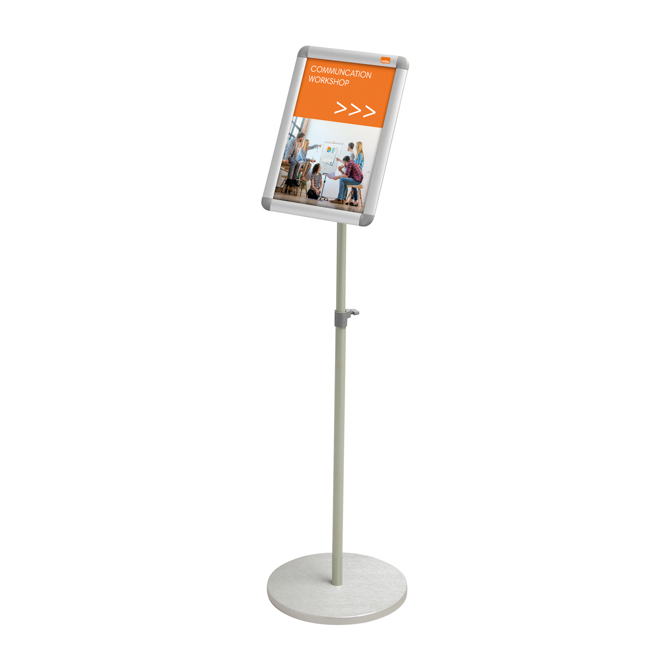 Nobo Snap Frame Display Stand for A4 Documents Adjustable Height 950-1470mm Silver Grey Ref 1902383