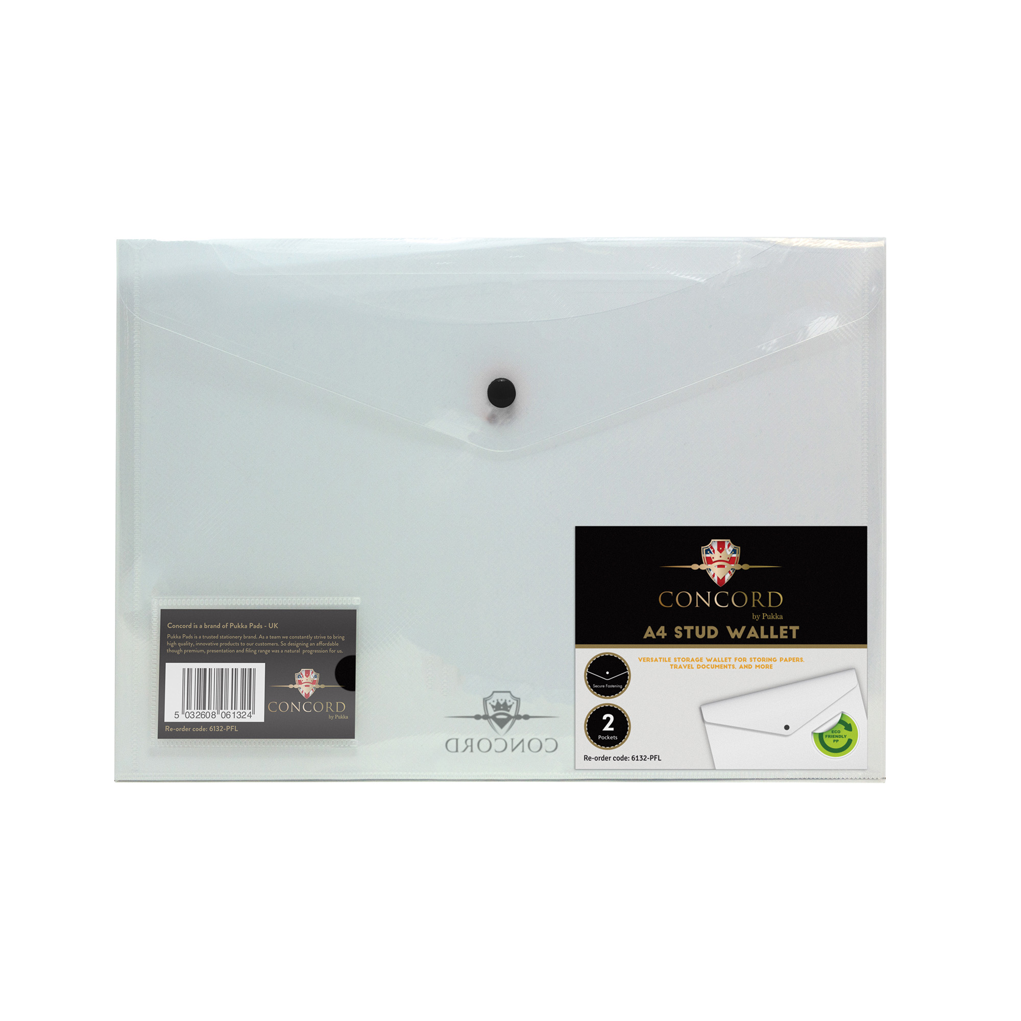 Concord Value Stud Wallet File Polypropylene A4 Clear 6132-PFL (Pack 5)