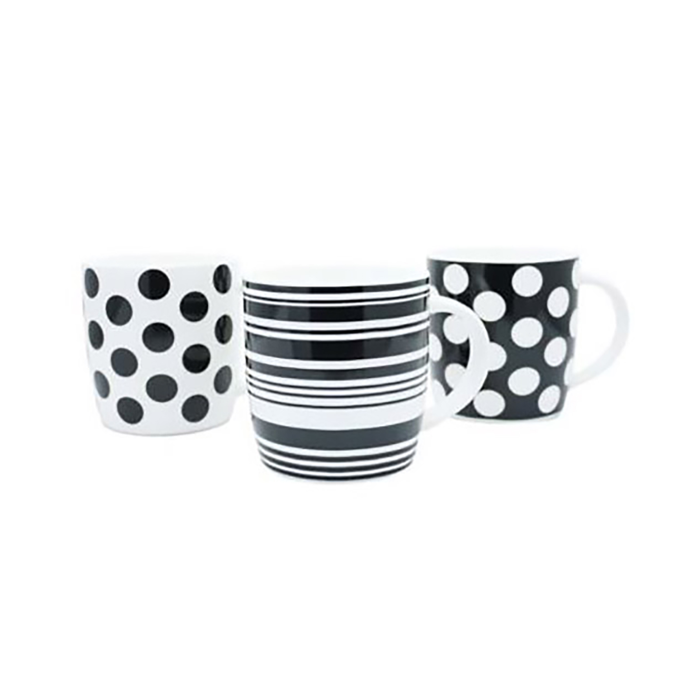 Squat Mugs Dot & Stripes 11oz Black & White Ref 0399352 [Pack 12]